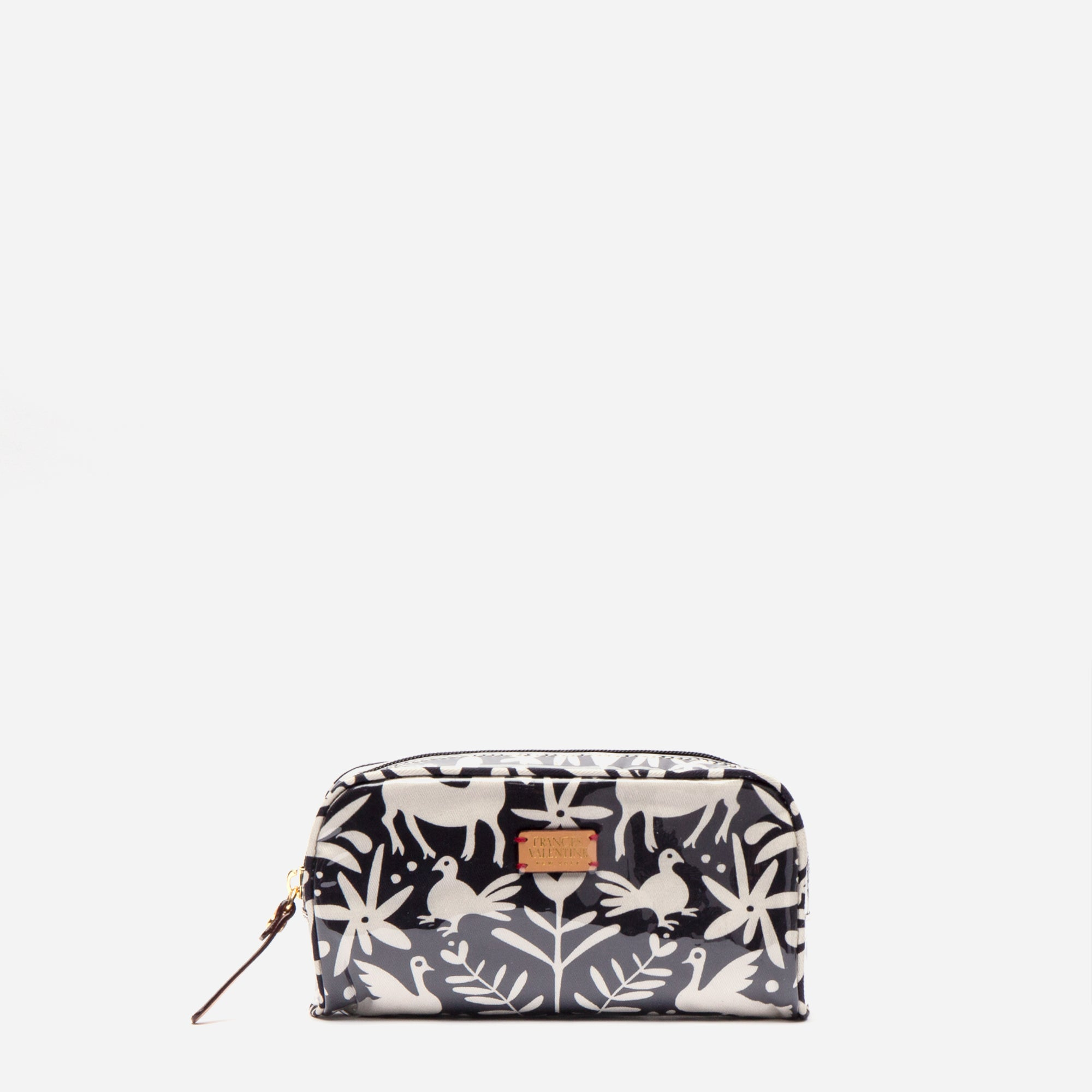 Small Cosmetic Otomi Print Black - Frances Valentine