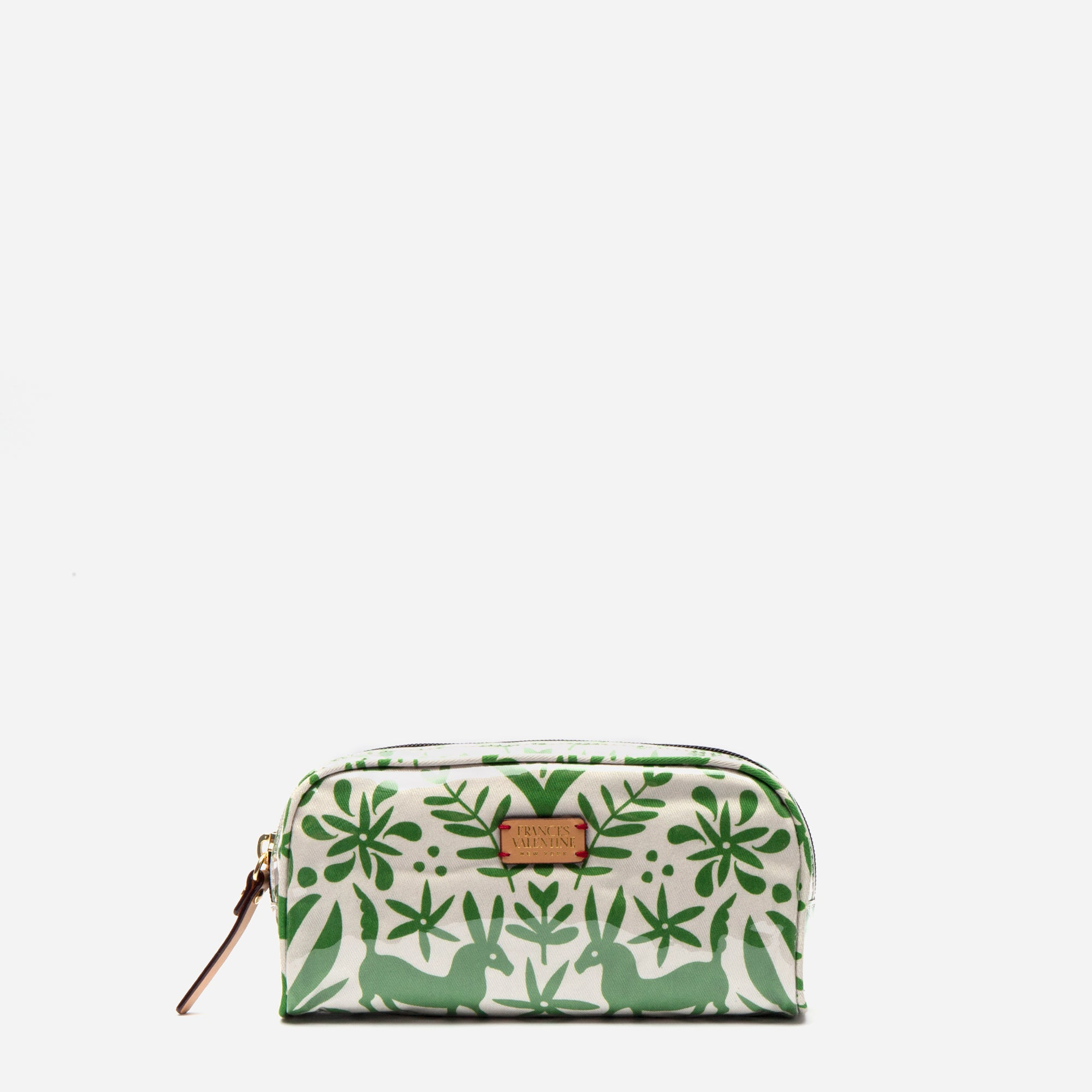 Small Cosmetic Otomi Print Green - Frances Valentine