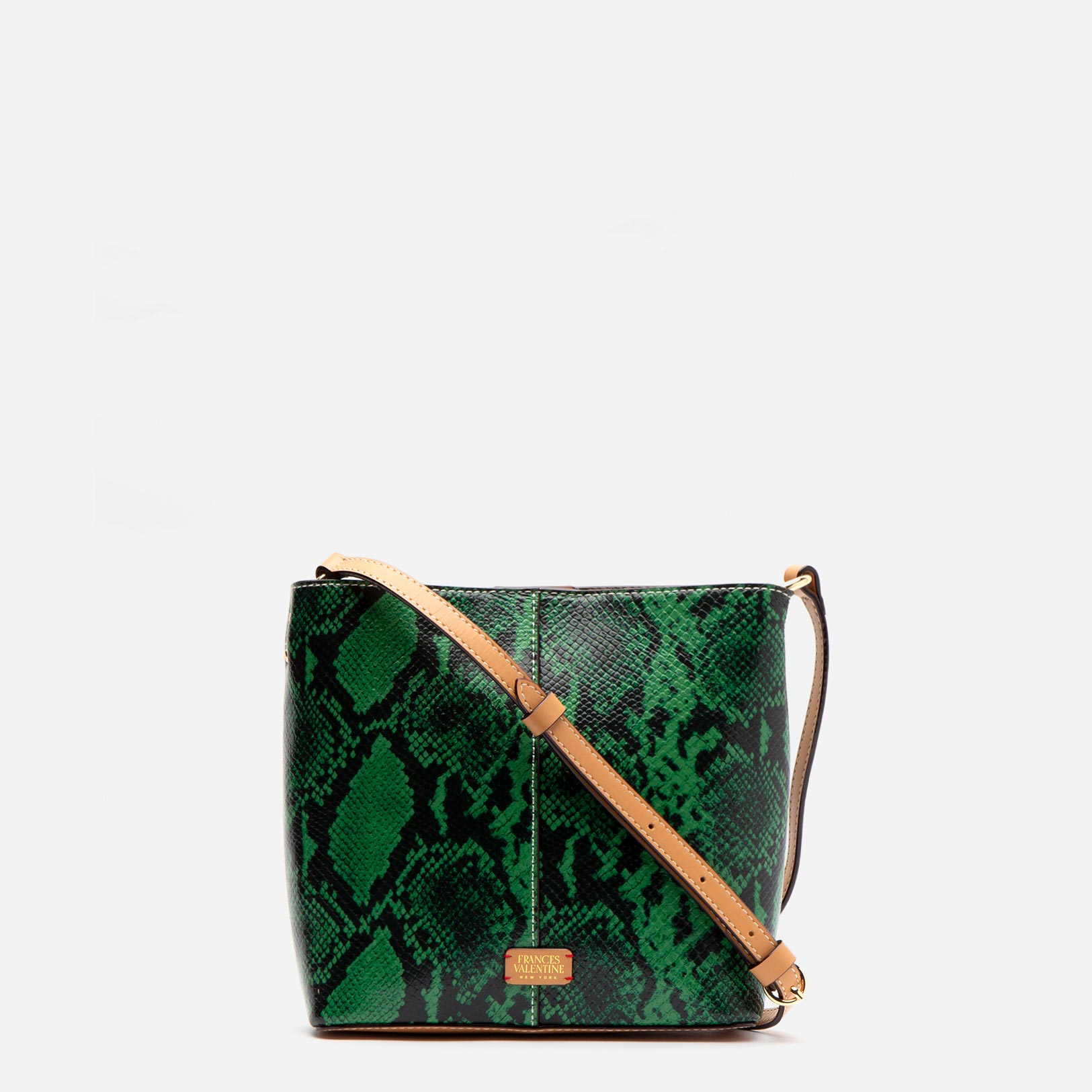 Small Finn Snake Embossed Leather Green - Frances Valentine