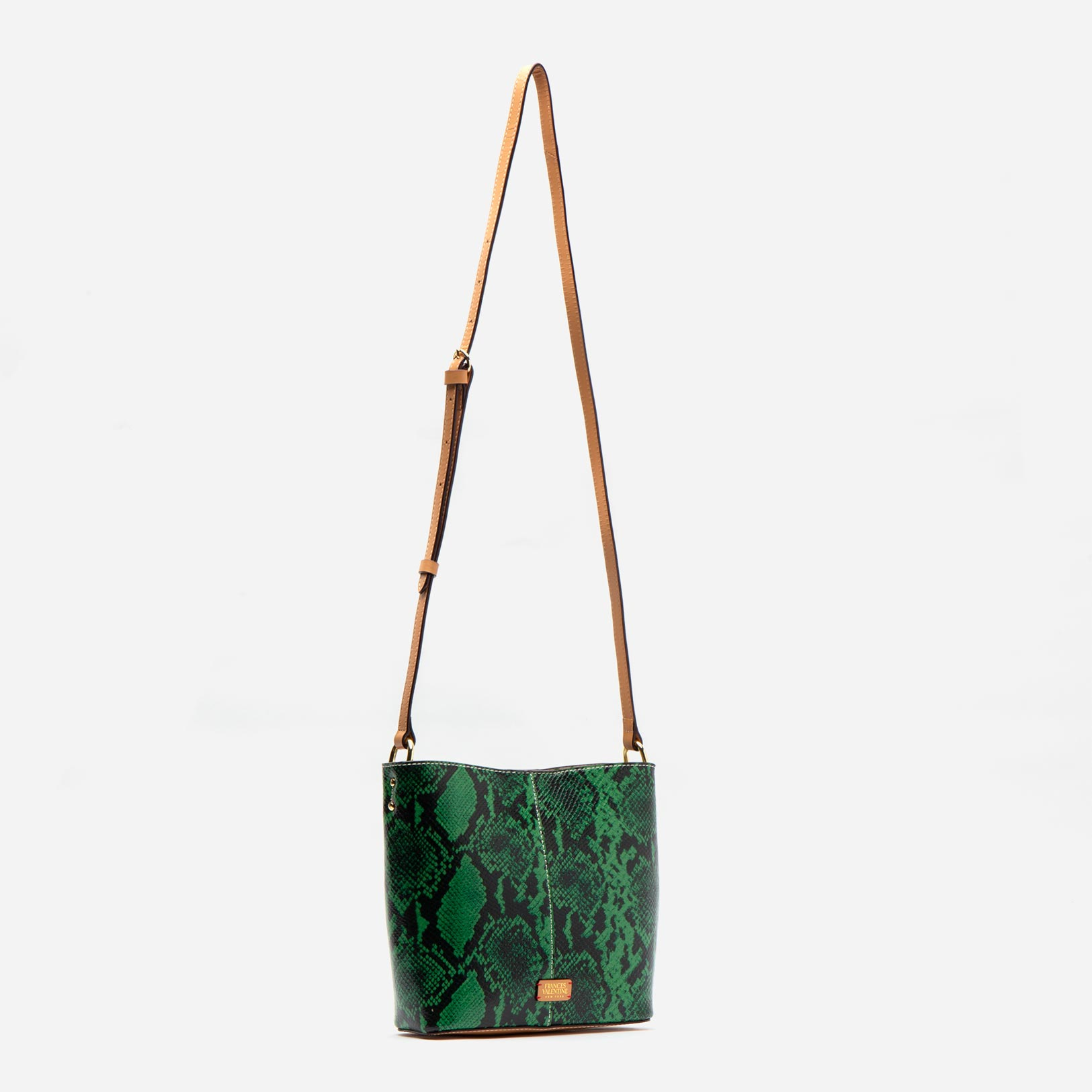 Small Finn Snake Embossed Leather Green
