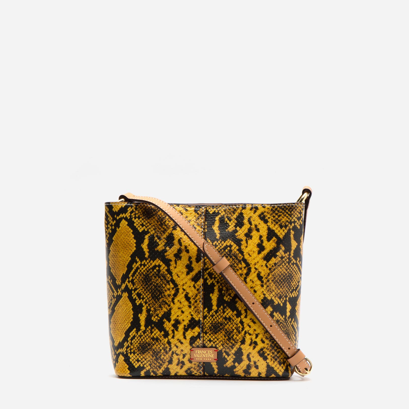 Small Finn Snake Embossed Leather Yellow - Frances Valentine