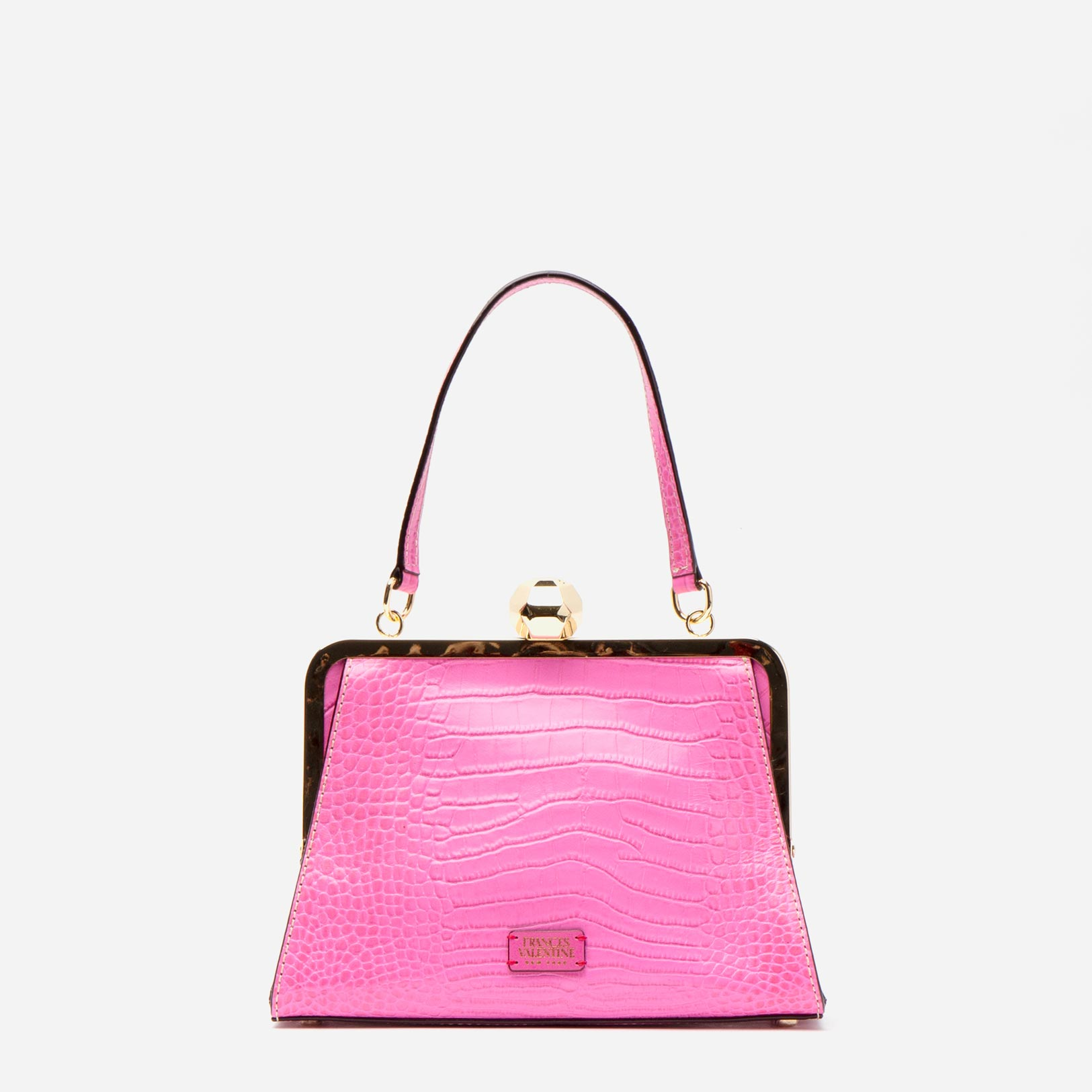 Small Jackie Croc Embossed Leather Pink - Frances Valentine