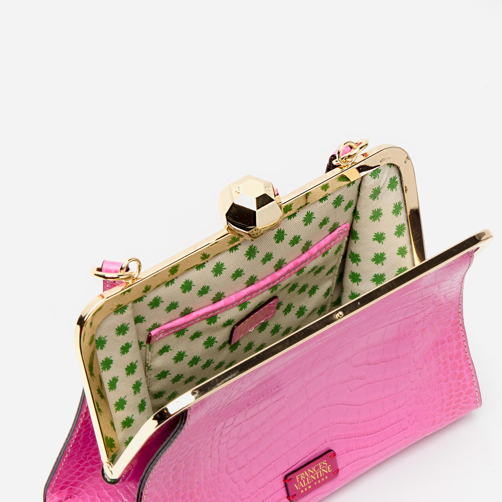 Small Jackie Croc Embossed Leather Pink