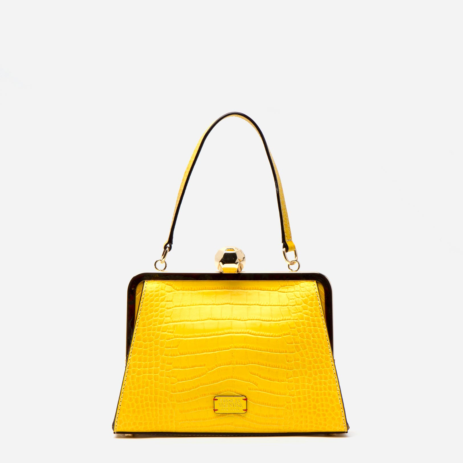 Small Jackie Croc Embossed Leather Yellow