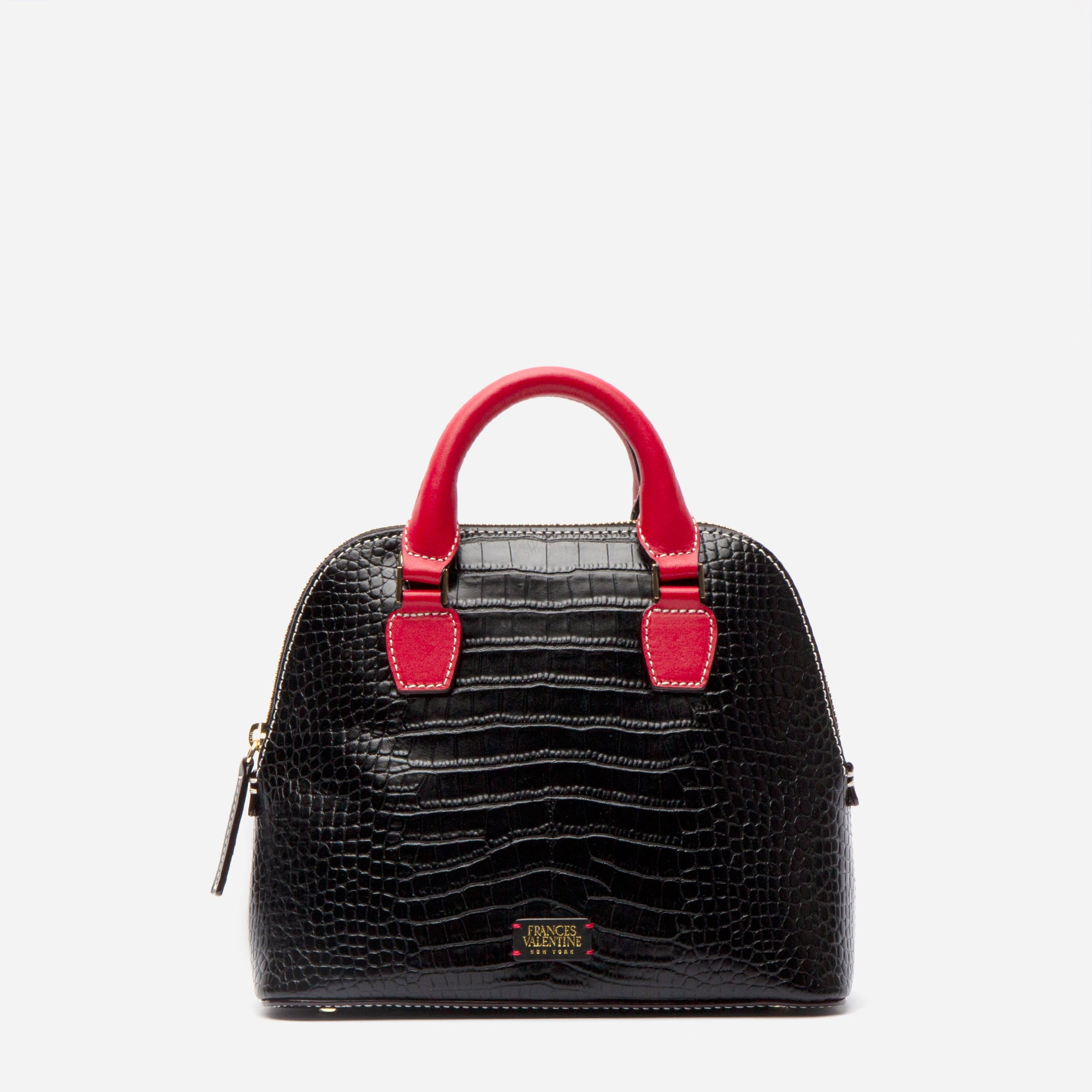 Small Rachel Croc Embossed Black