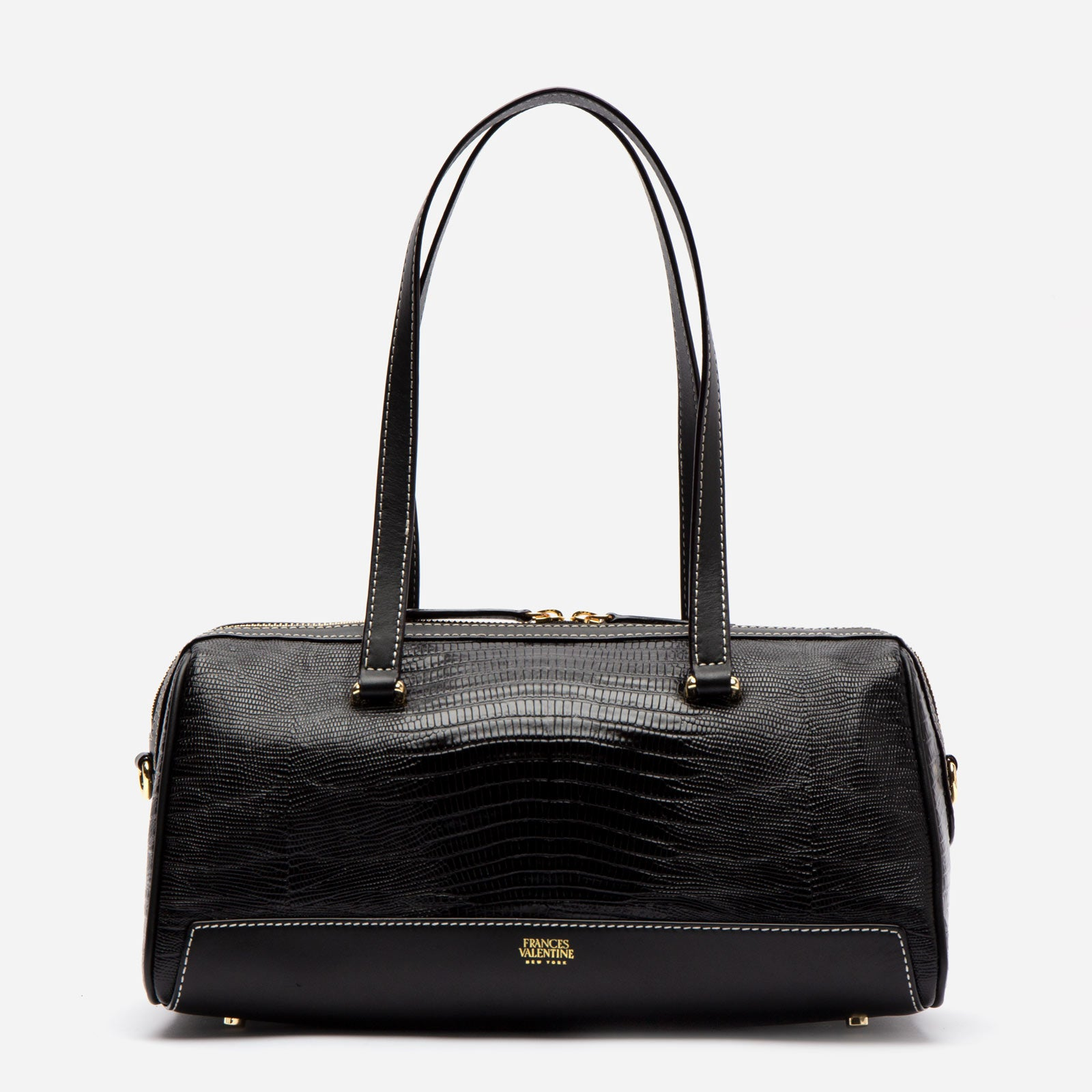 Avril Barrel Bag Embossed Lizard Black