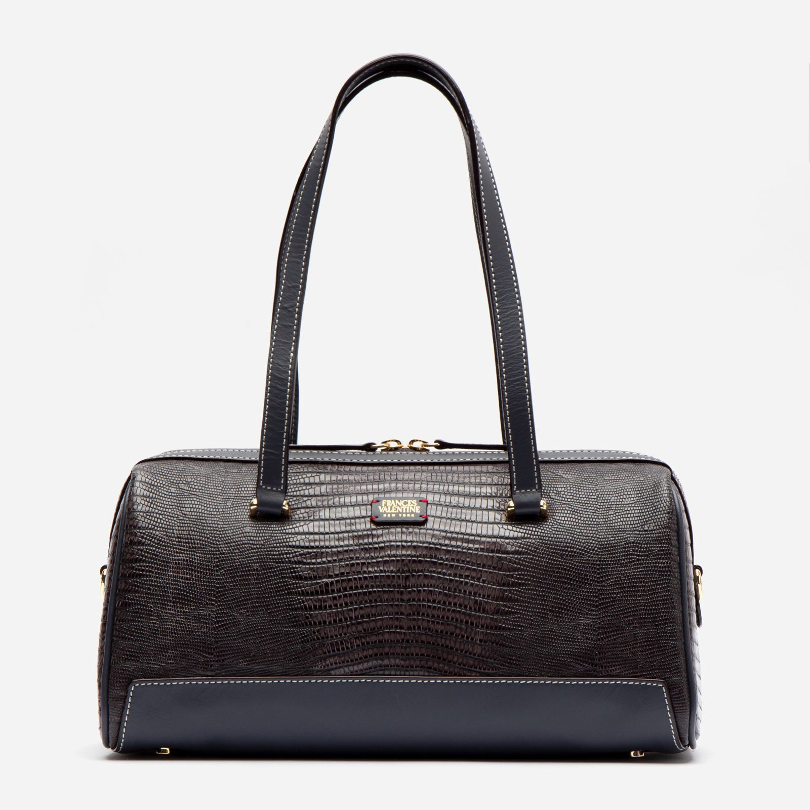 Avril Barrel Bag Lizard Embossed Leather Grey - Frances Valentine