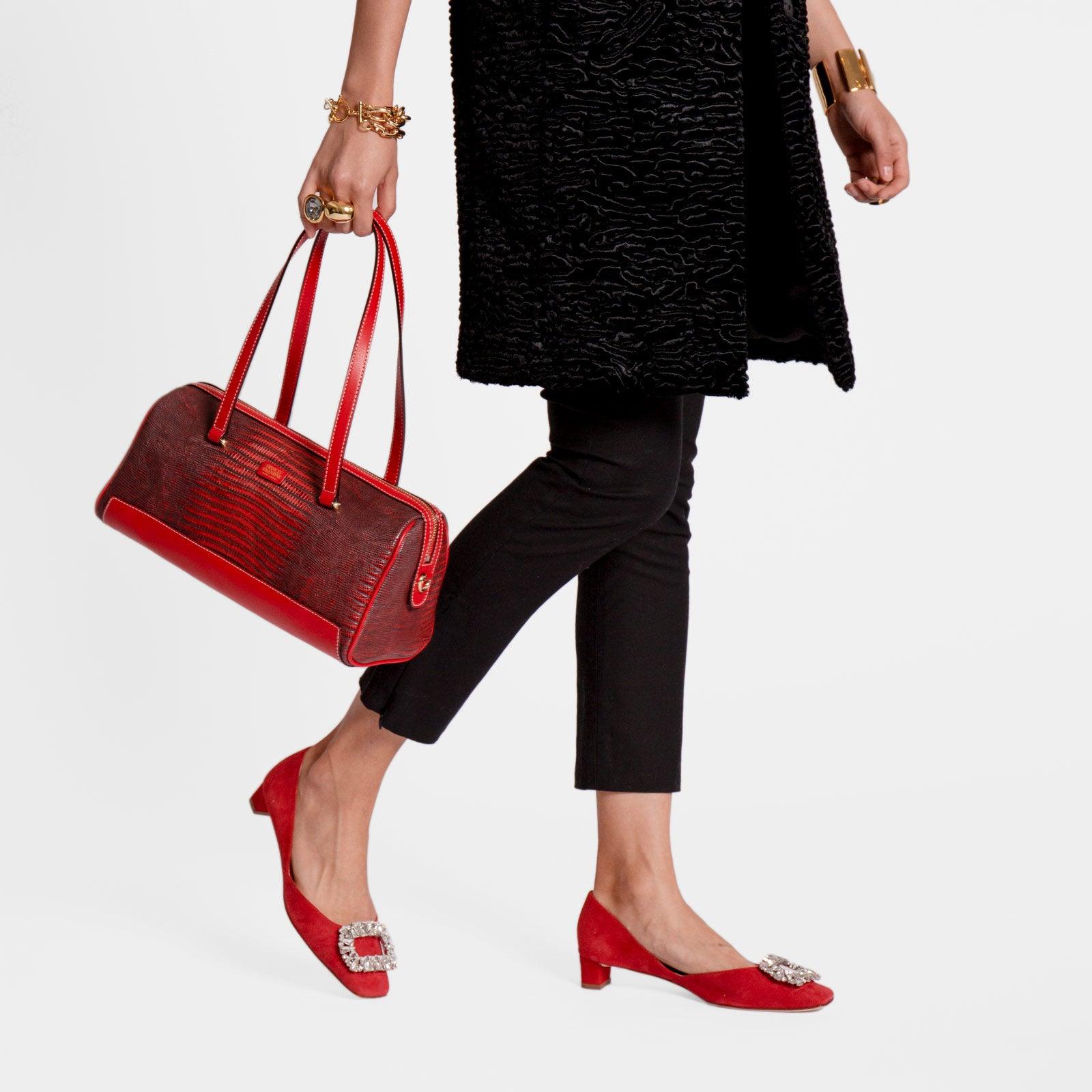 Avril Barrel Bag Embossed Lizard Red