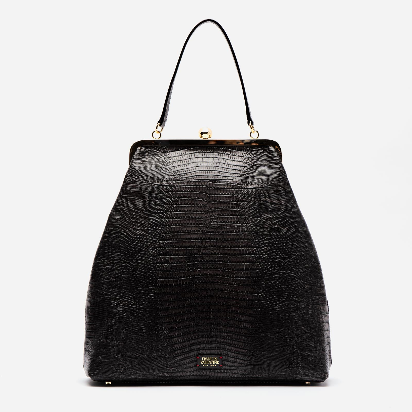 Caroline Crossbody Embossed Lizard Black - Frances Valentine