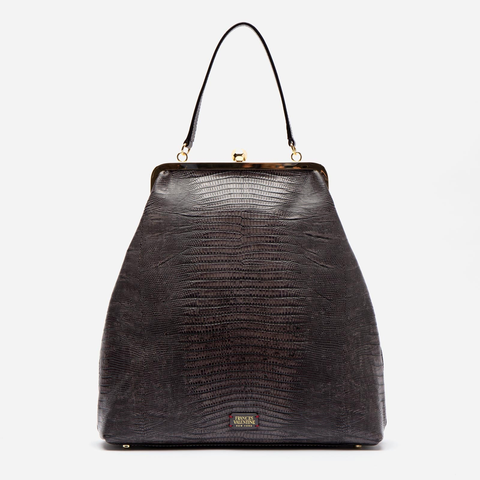 Caroline Crossbody Lizard Embossed Leather Grey - Frances Valentine