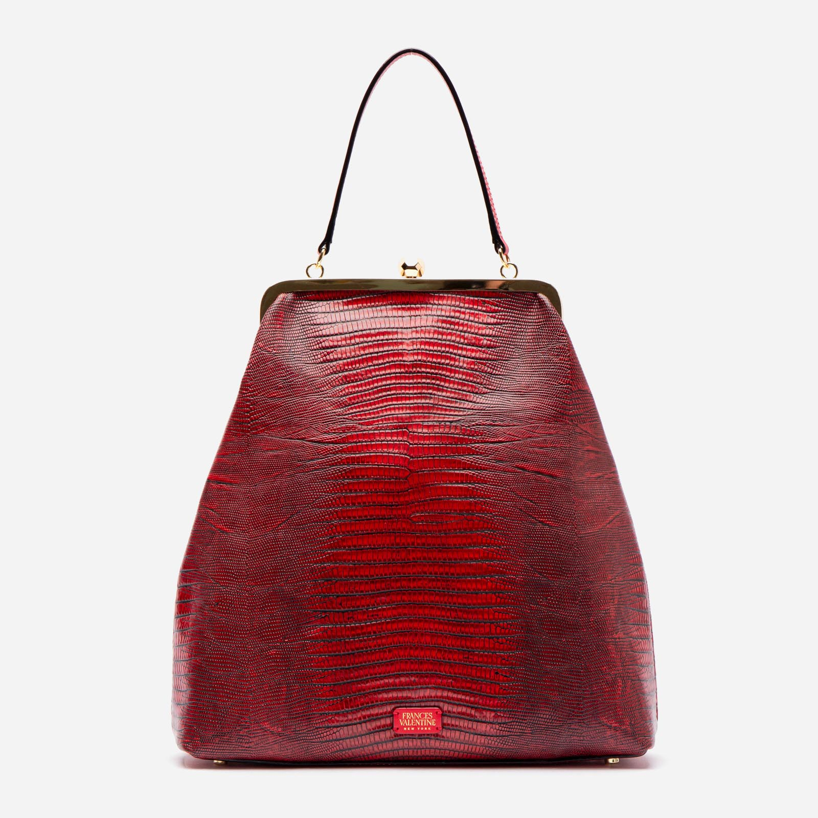 Caroline Crossbody Lizard Embossed Leather Red - Frances Valentine