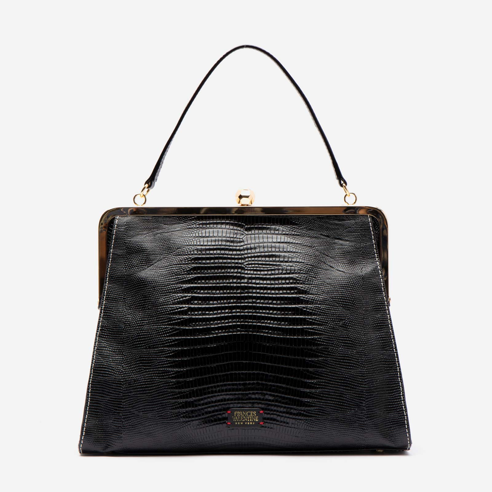 Jackie Lizard Embossed Leather Black - Frances Valentine