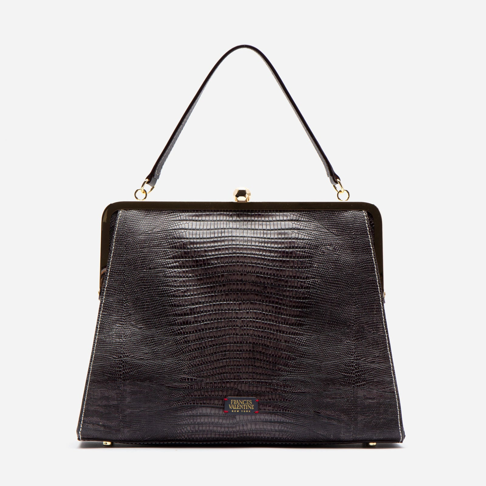 Jackie Lizard Embossed Leather Grey - Frances Valentine