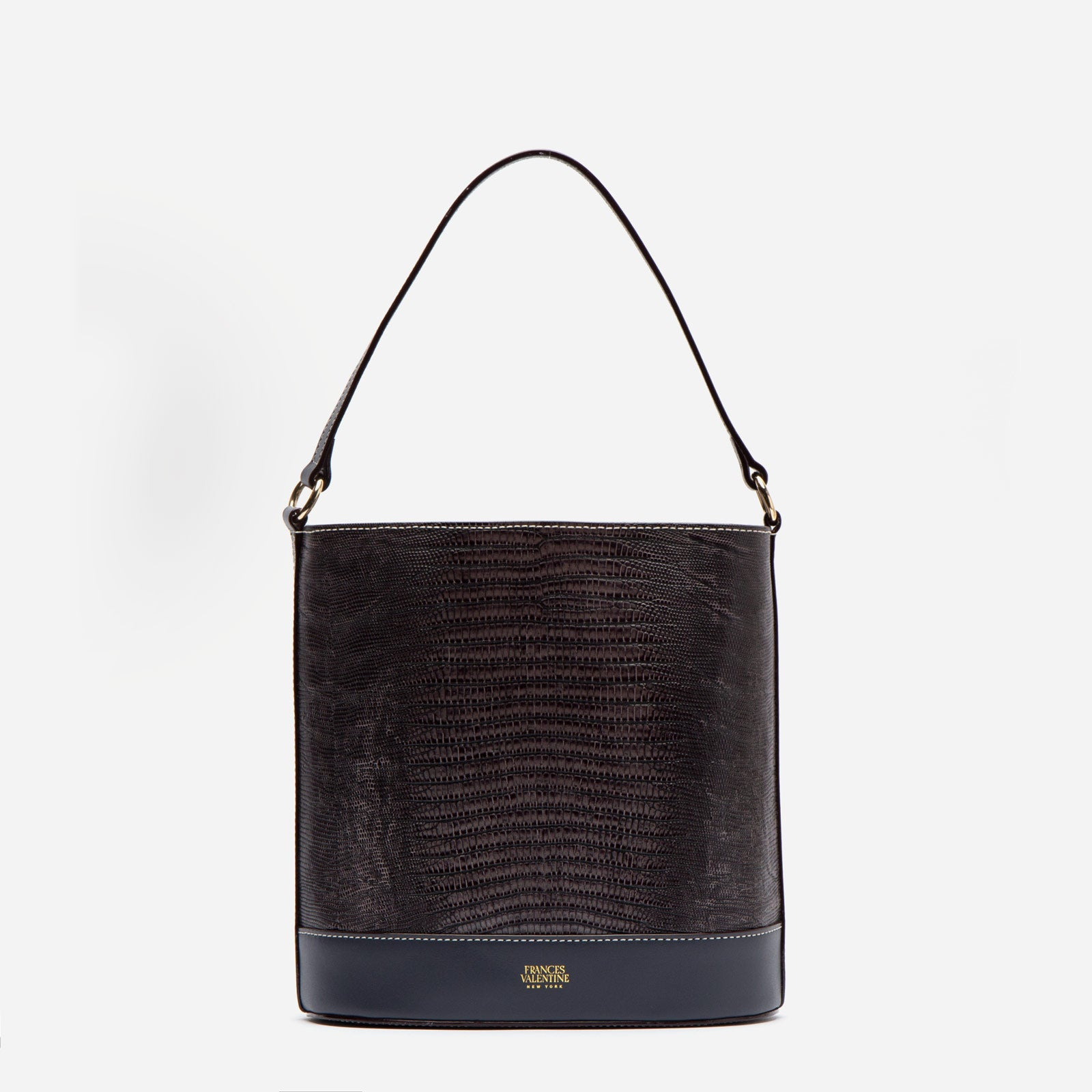 Stella Slim Bucket Lizard Embossed Leather Grey - Frances Valentine