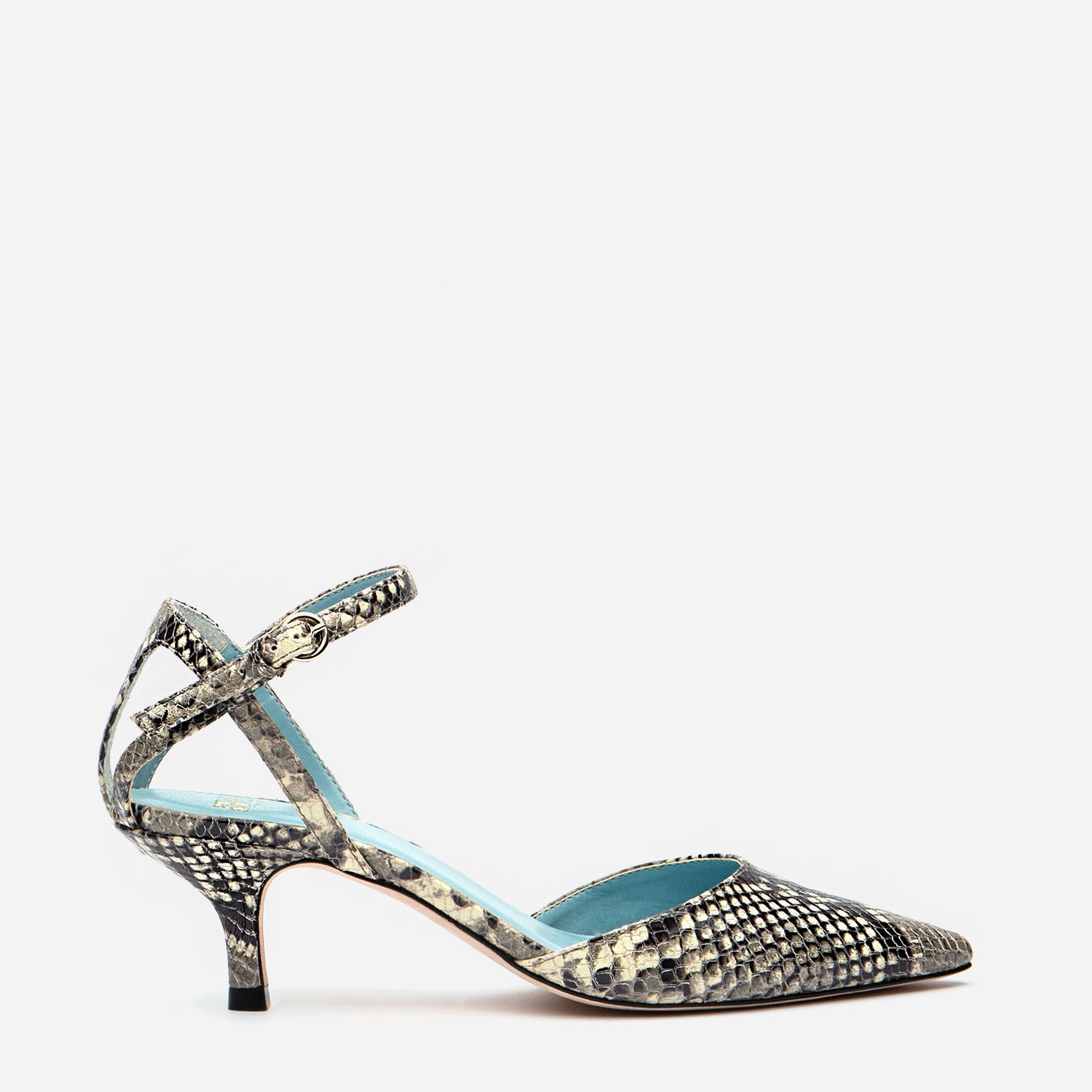 Alice Snake Pointed Toe Heel Natural - Frances Valentine
