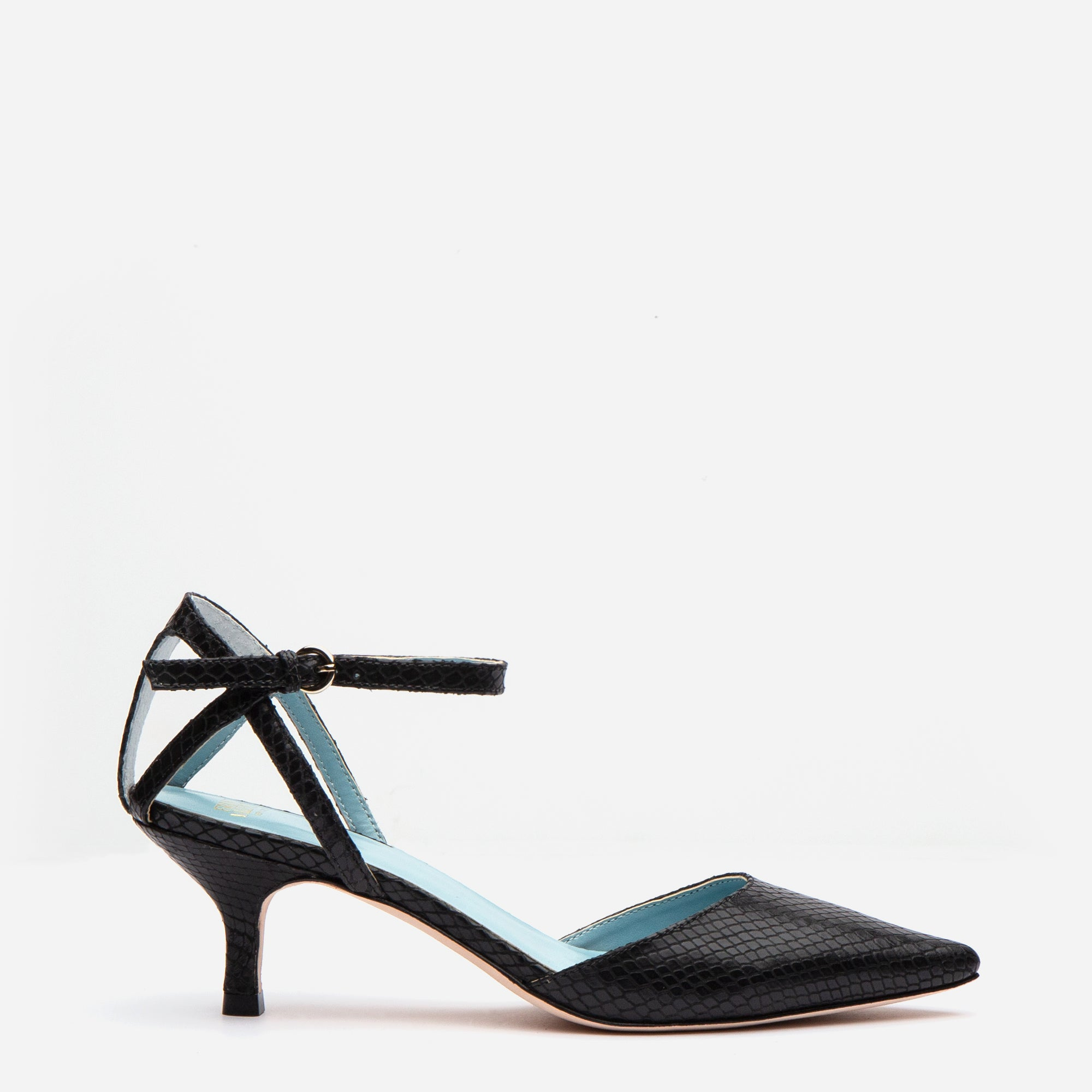 Alice Snake Pointed Toe Heel Black - Frances Valentine