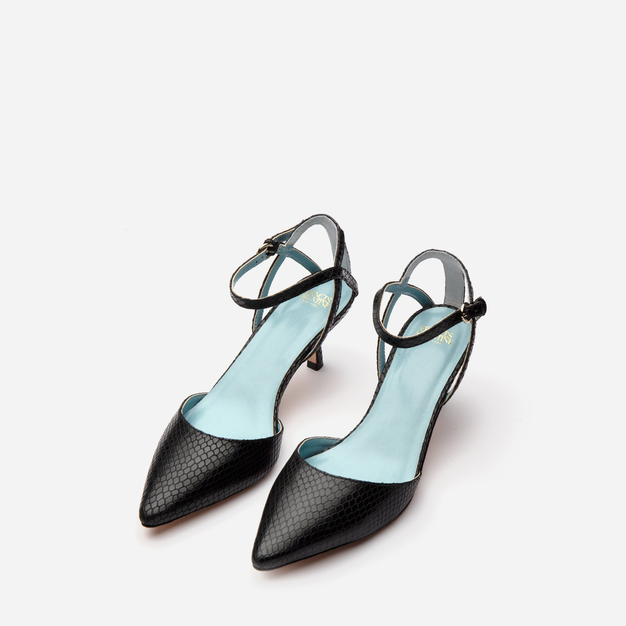 Alice Snake Pointed Toe Heels Black