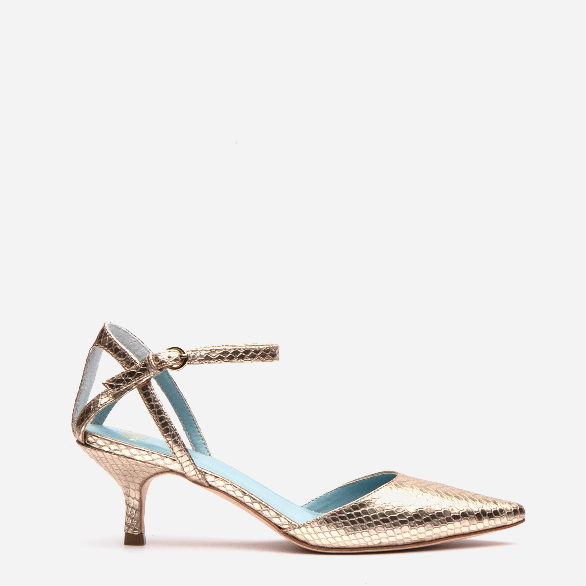 Alice Snake Pointed Toe Heel Platino - Frances Valentine