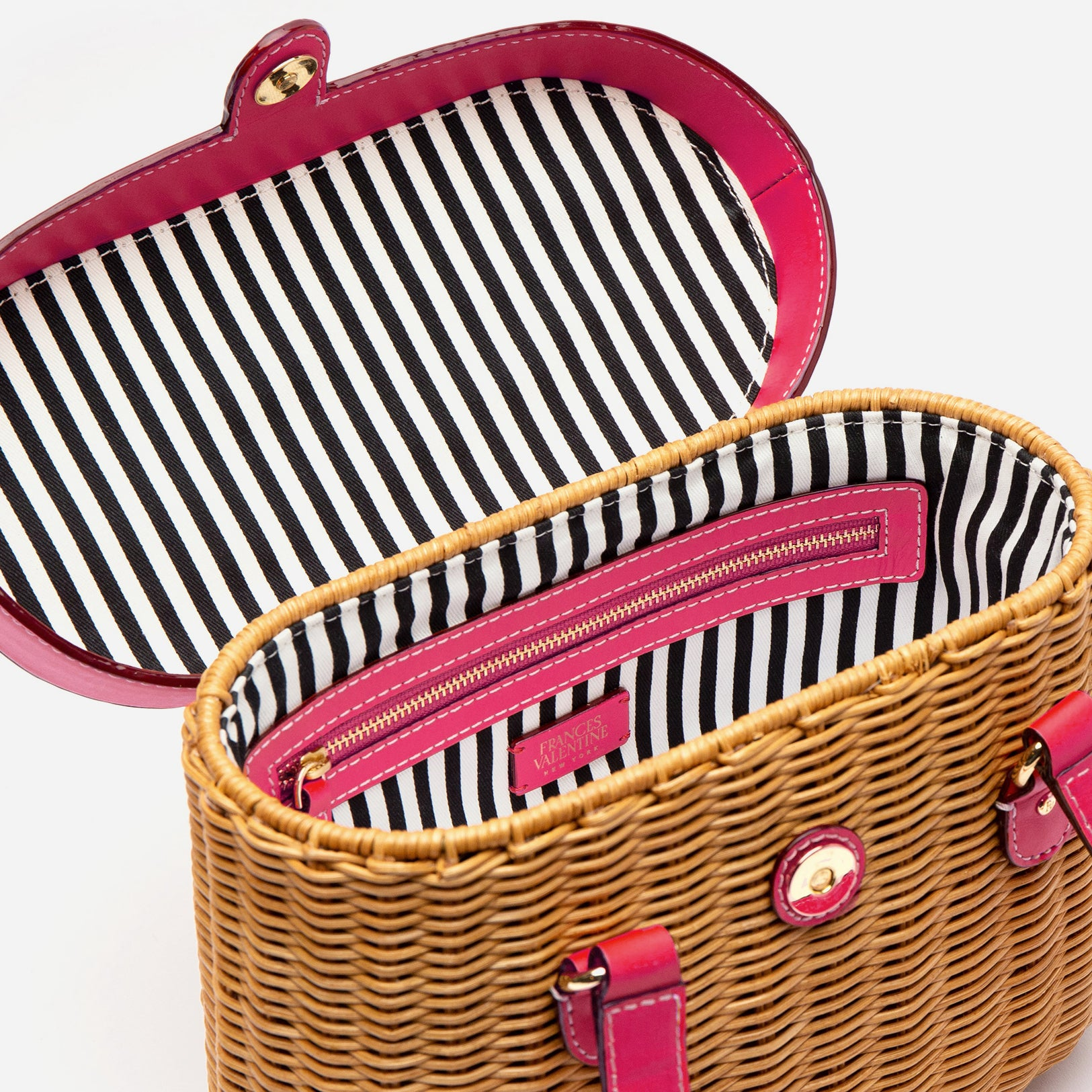 Arielle Wicker Basket Bright Pink