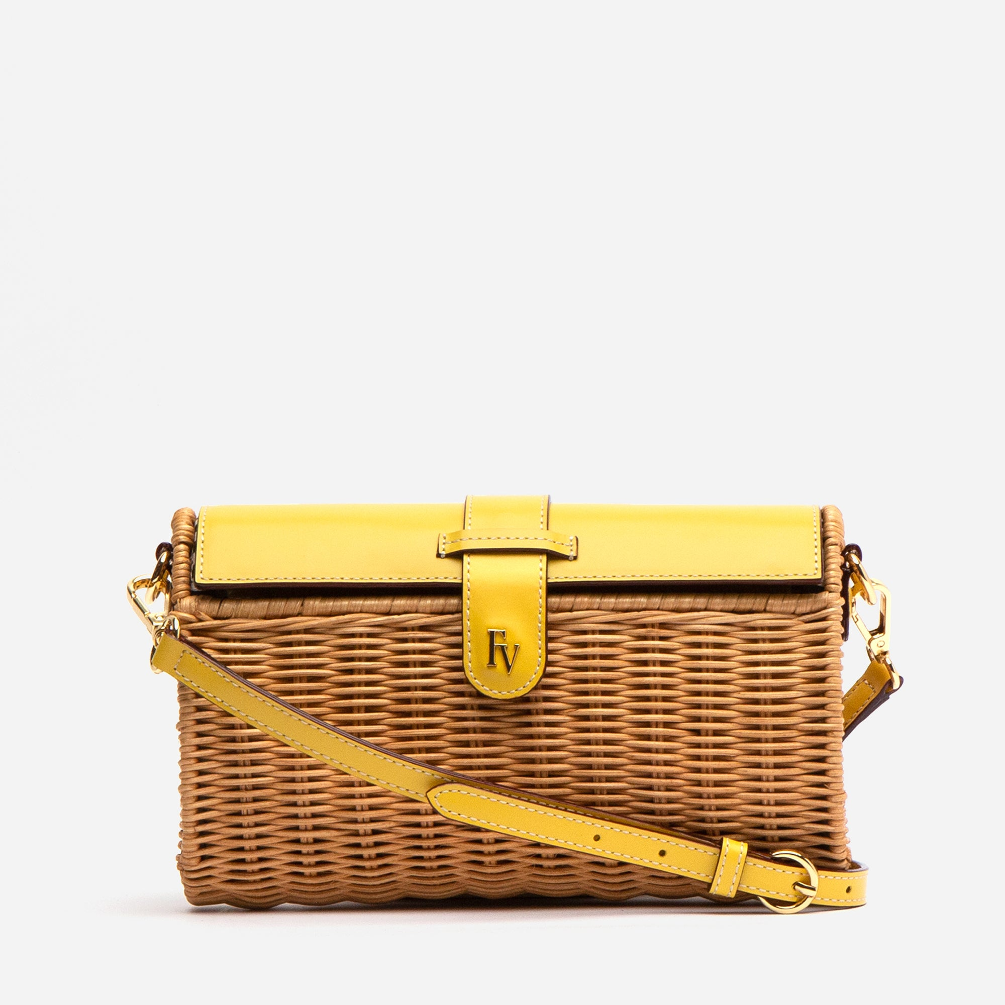 Betsy Wicker Basket Bag Canary