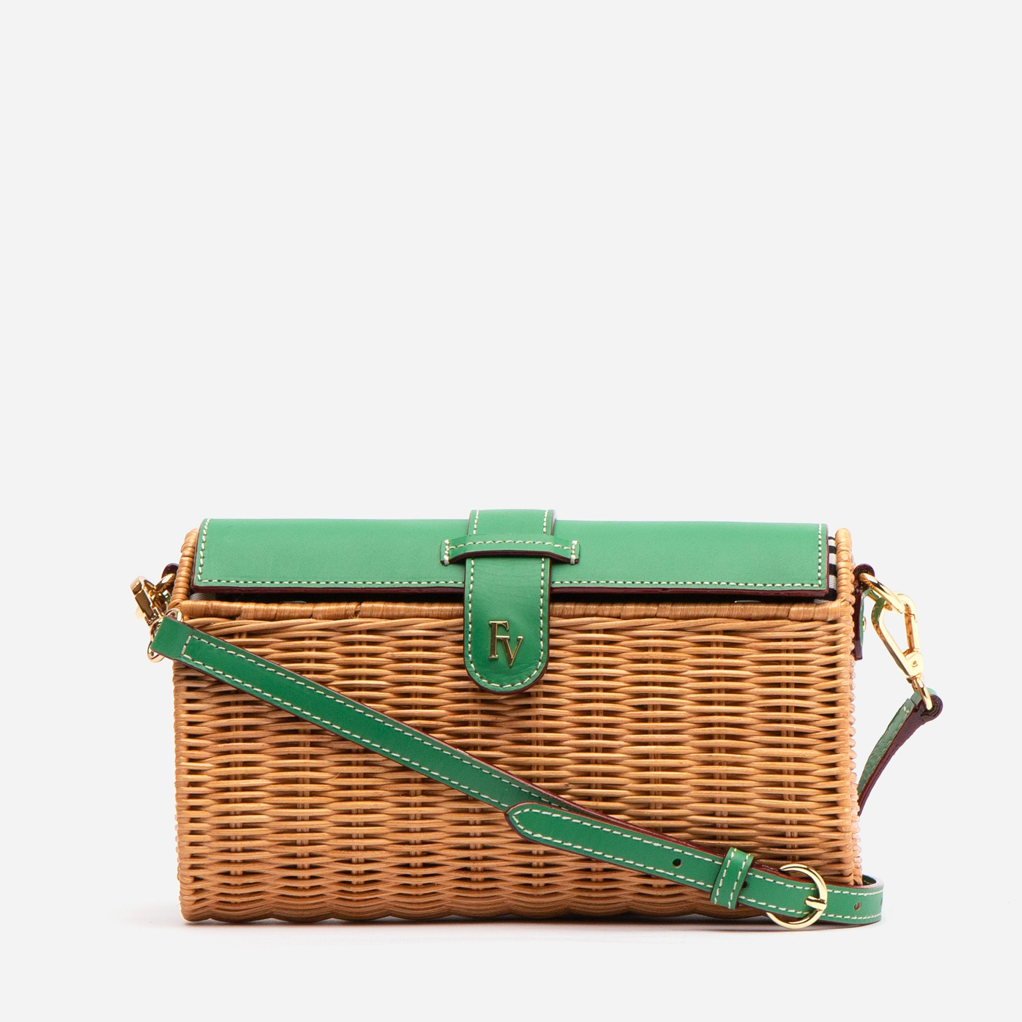 Betsy Wicker Basket Bag Green Ray