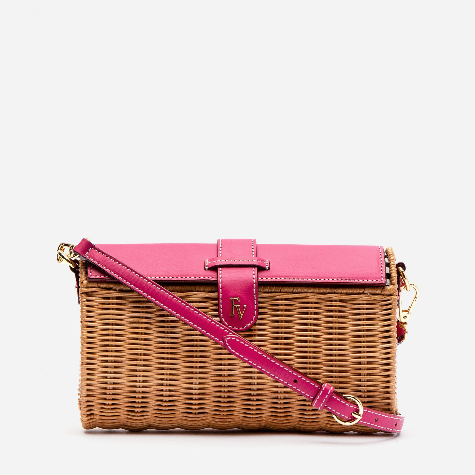 Betsy Wicker Basket Bag Bright Pink - Frances Valentine