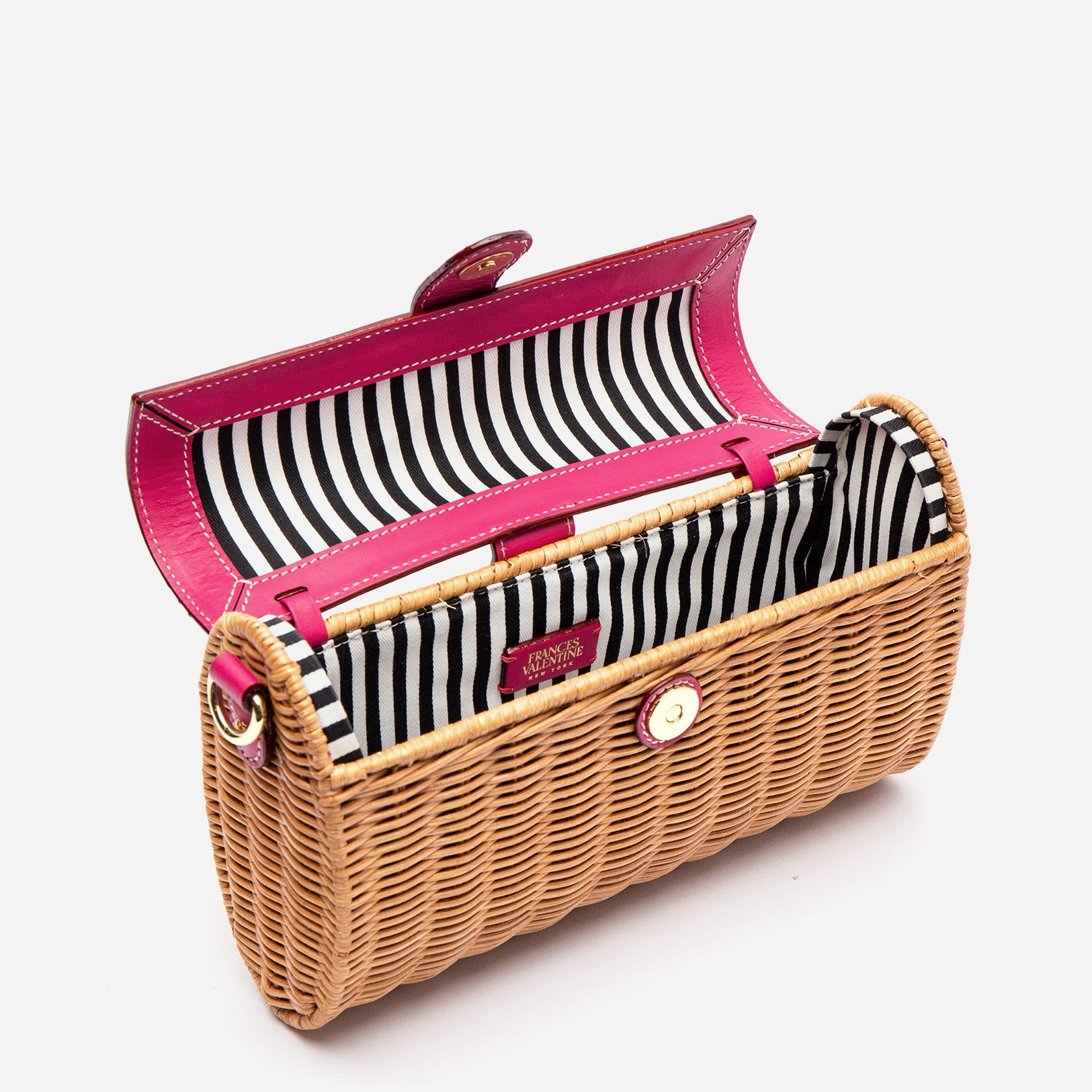 Betsy Wicker Basket Bag Bright Pink