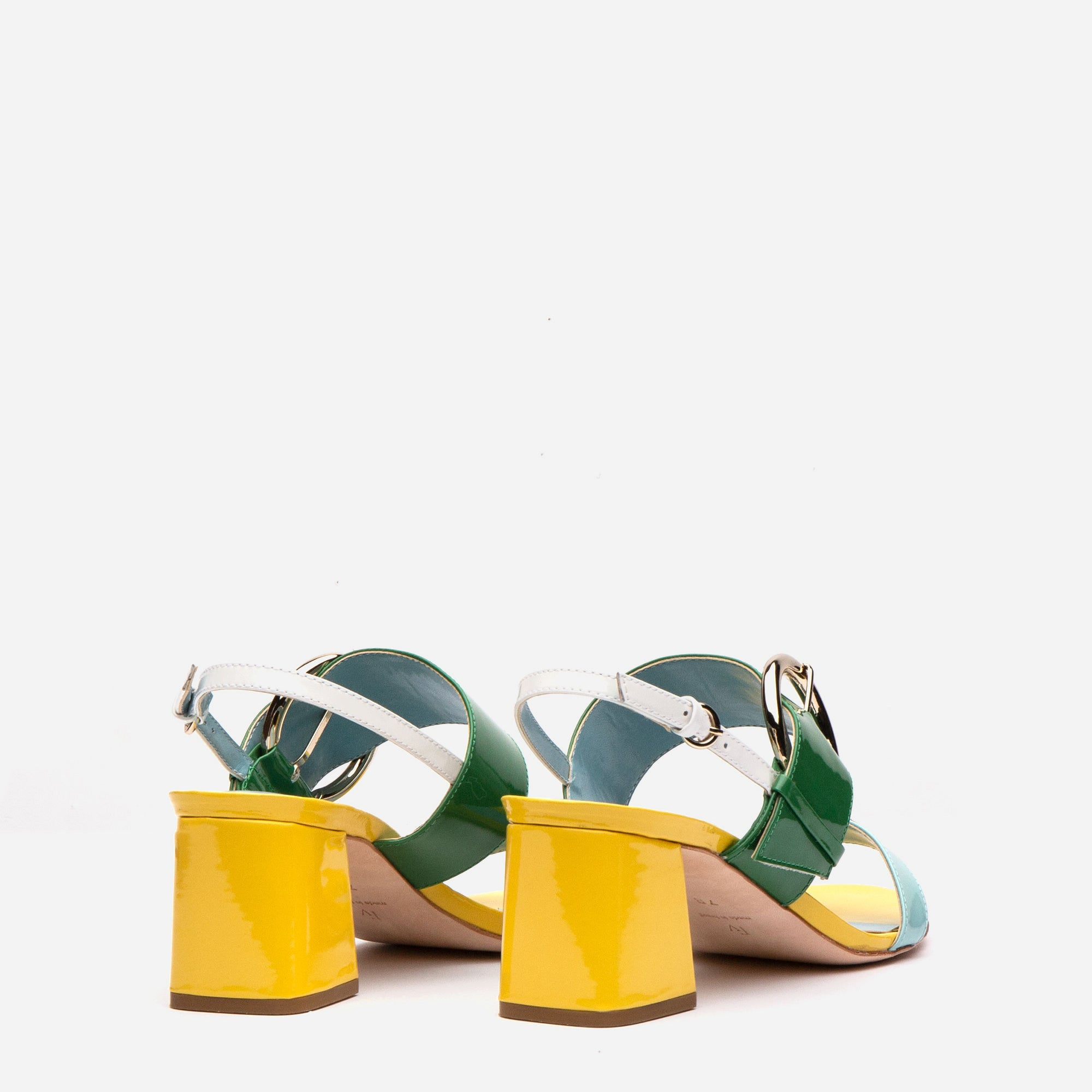 Betty Block Heel Sandal Patent Canary