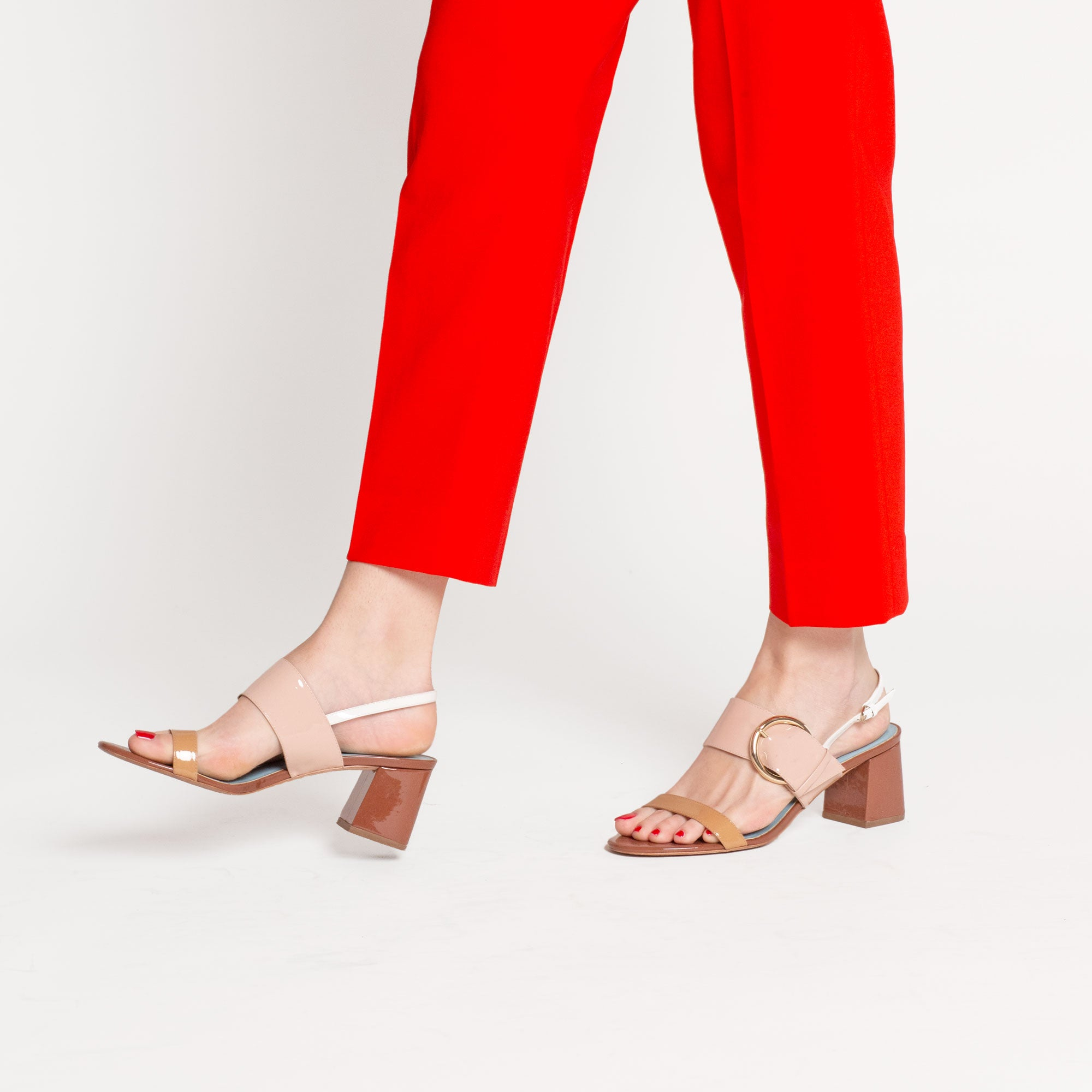 Betty Block Heel Sandal Patent Natural - Frances Valentine