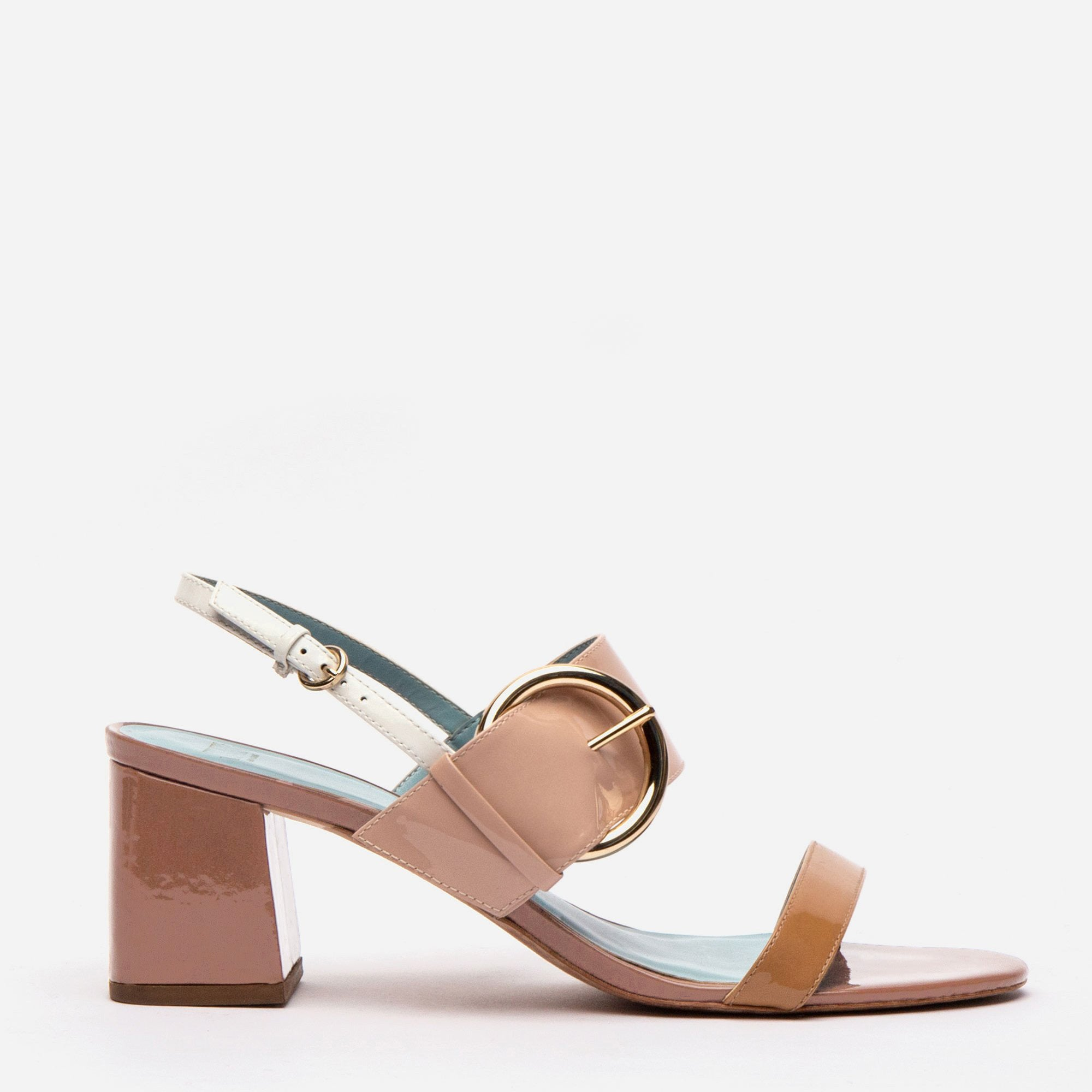 Betty Block Heel Sandal Patent Ivory Pink Light Camel