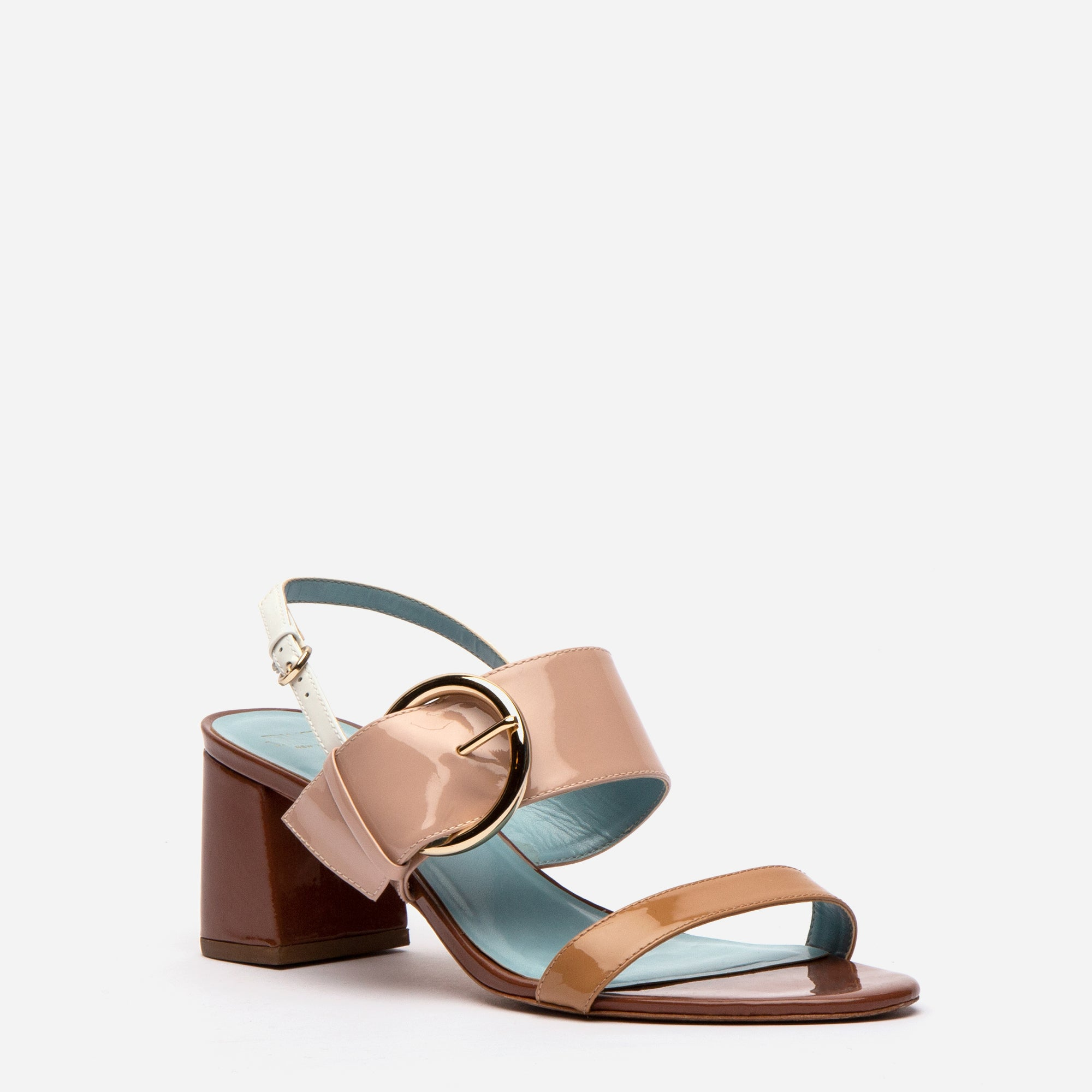 Betty Block Heel Sandal Patent Natural