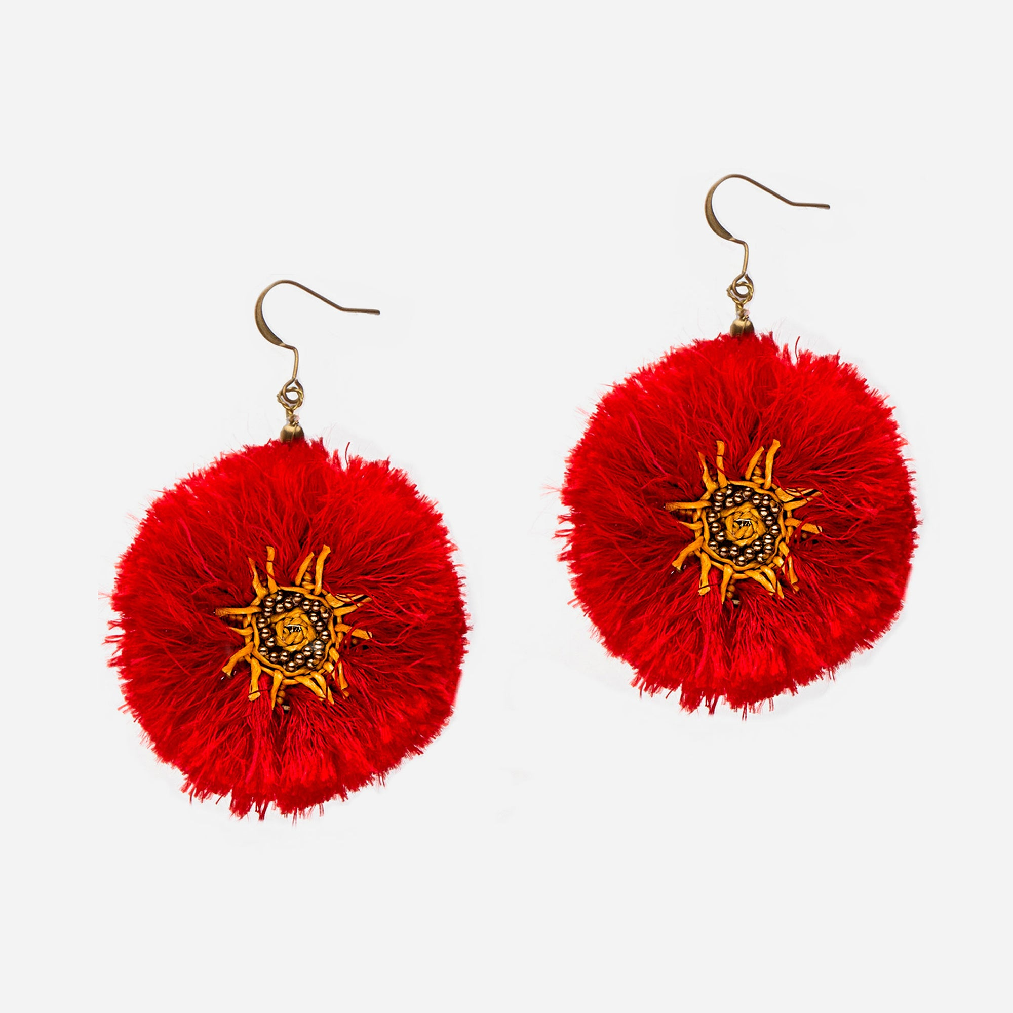 Bali Fringe Earrings Red