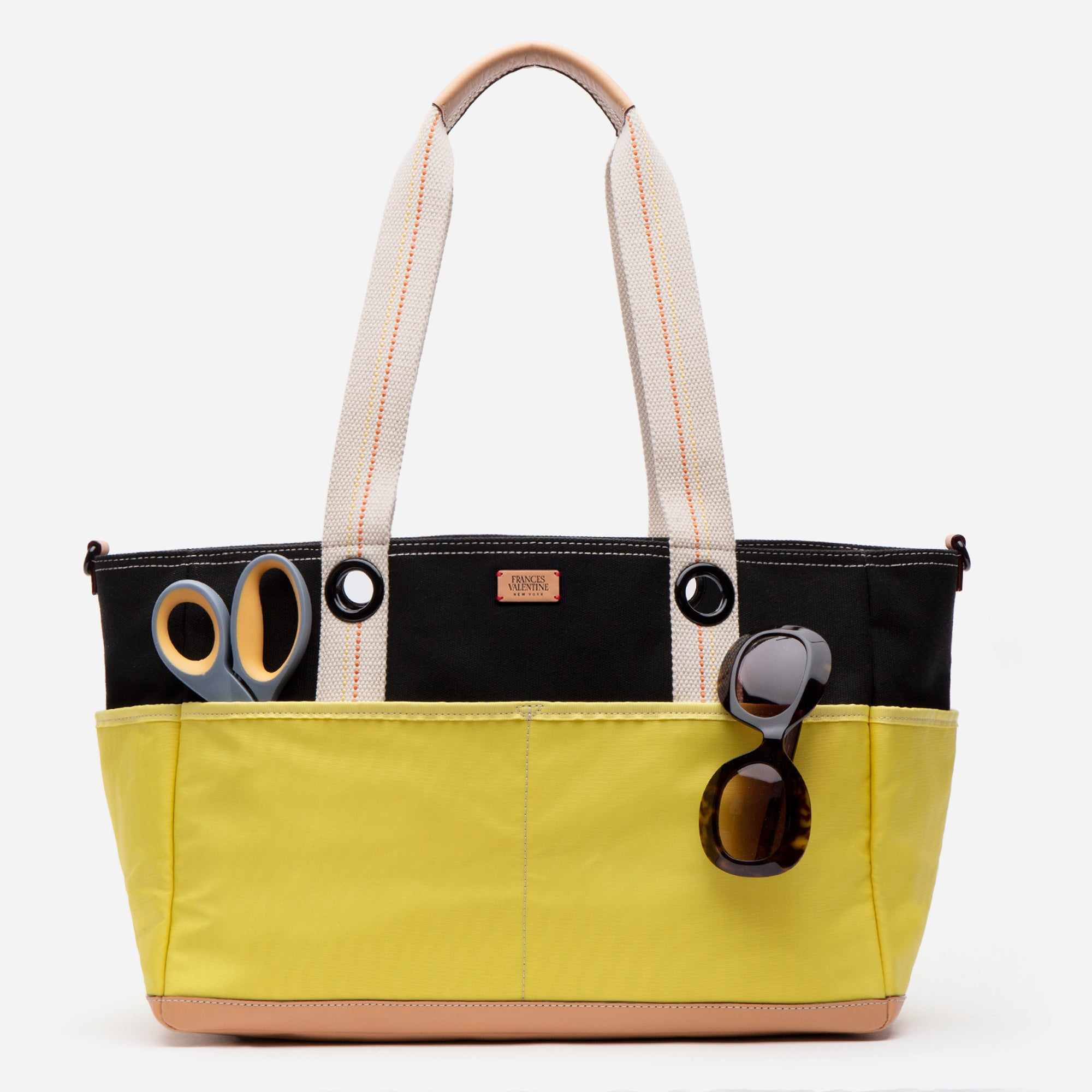 Gardening Canvas Tote Black Yellow - Frances Valentine