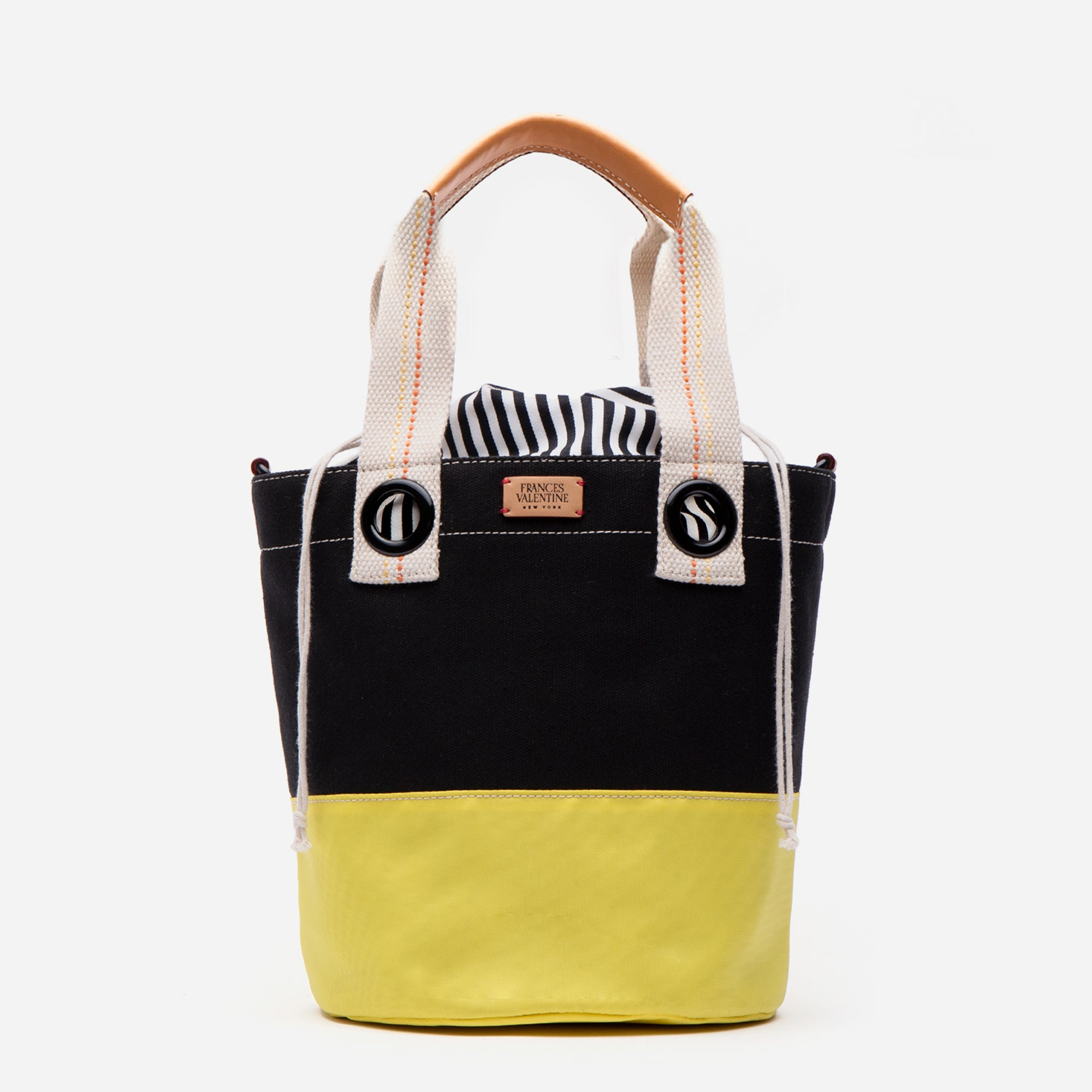 Large Colorblock Bucket Black Yellow
