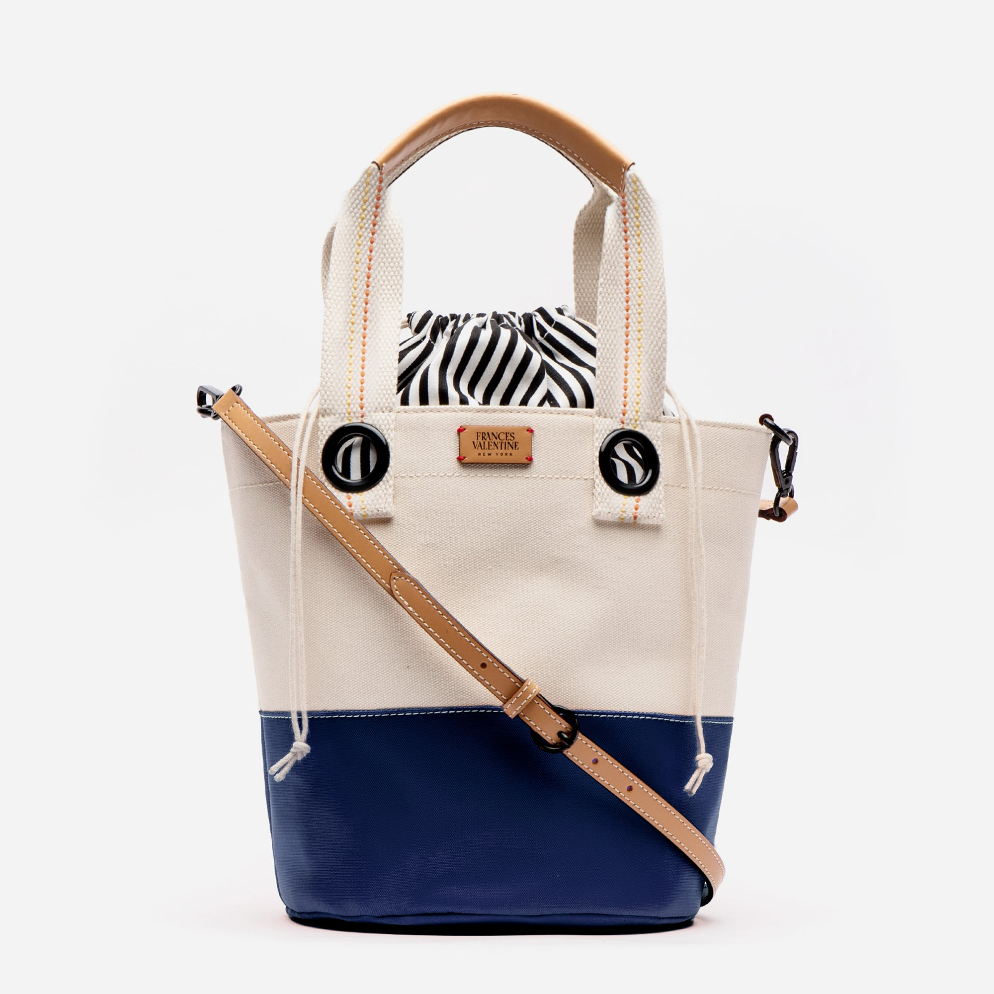 Large Colorblock Bucket Natural Navy