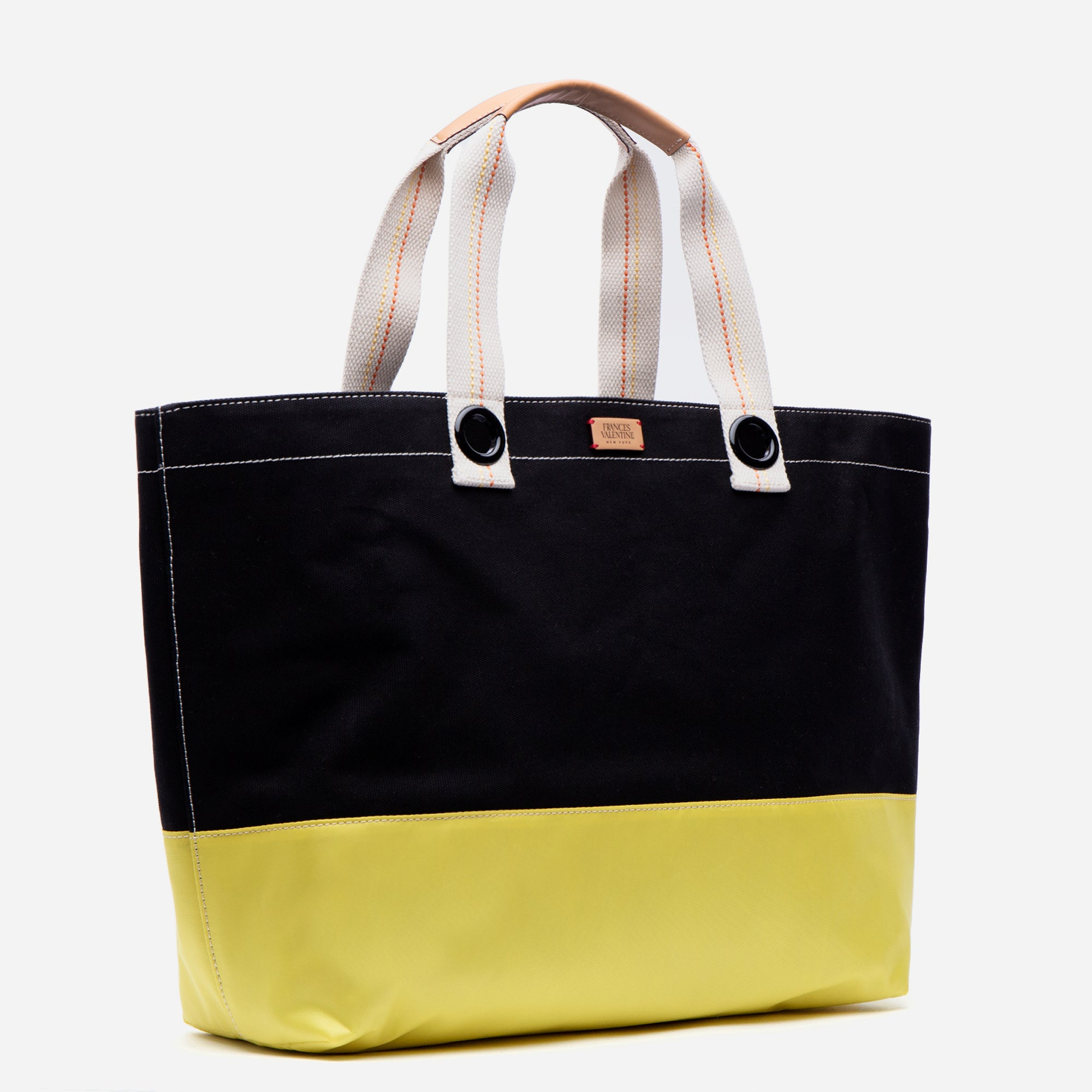 Colorblock Canvas Weekend Tote Black Yellow
