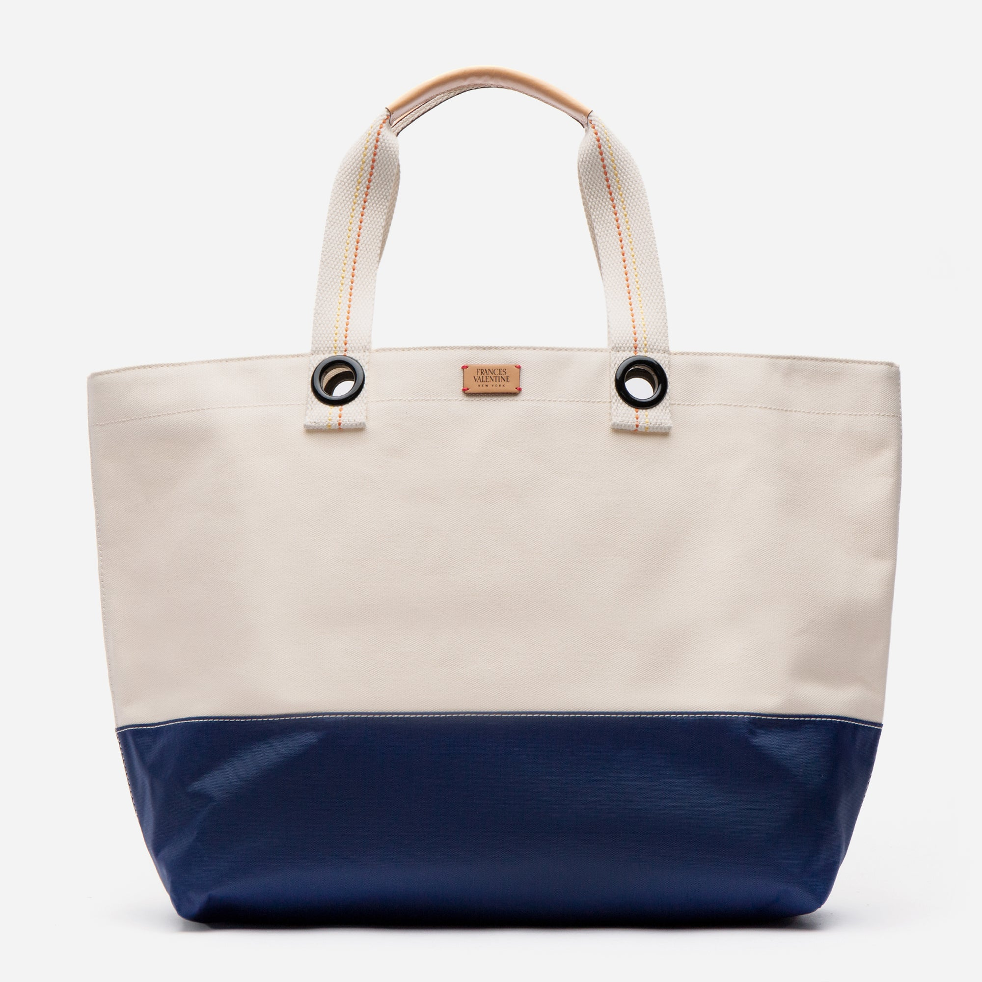 Colorblock Canvas Weekend Tote Natural Navy - Frances Valentine