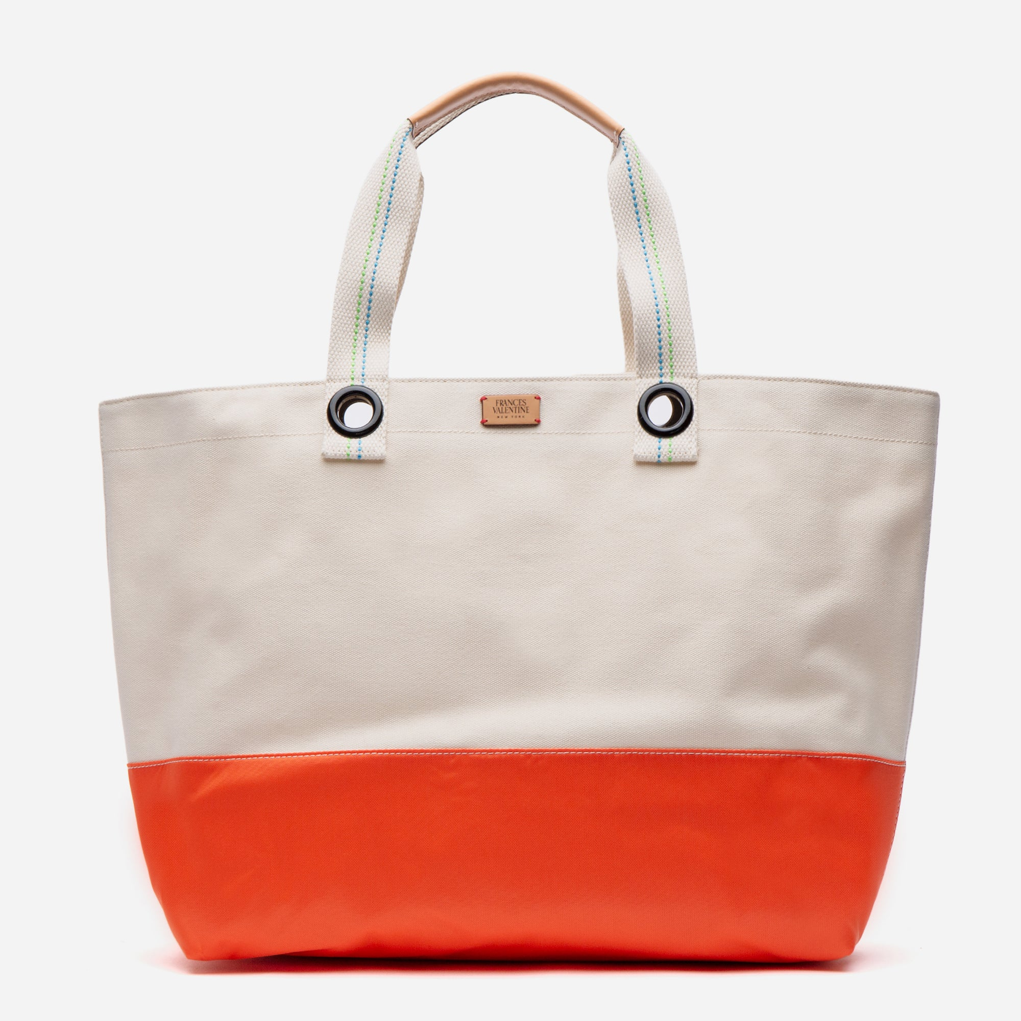 Colorblock Canvas Weekend Tote Natural Orange