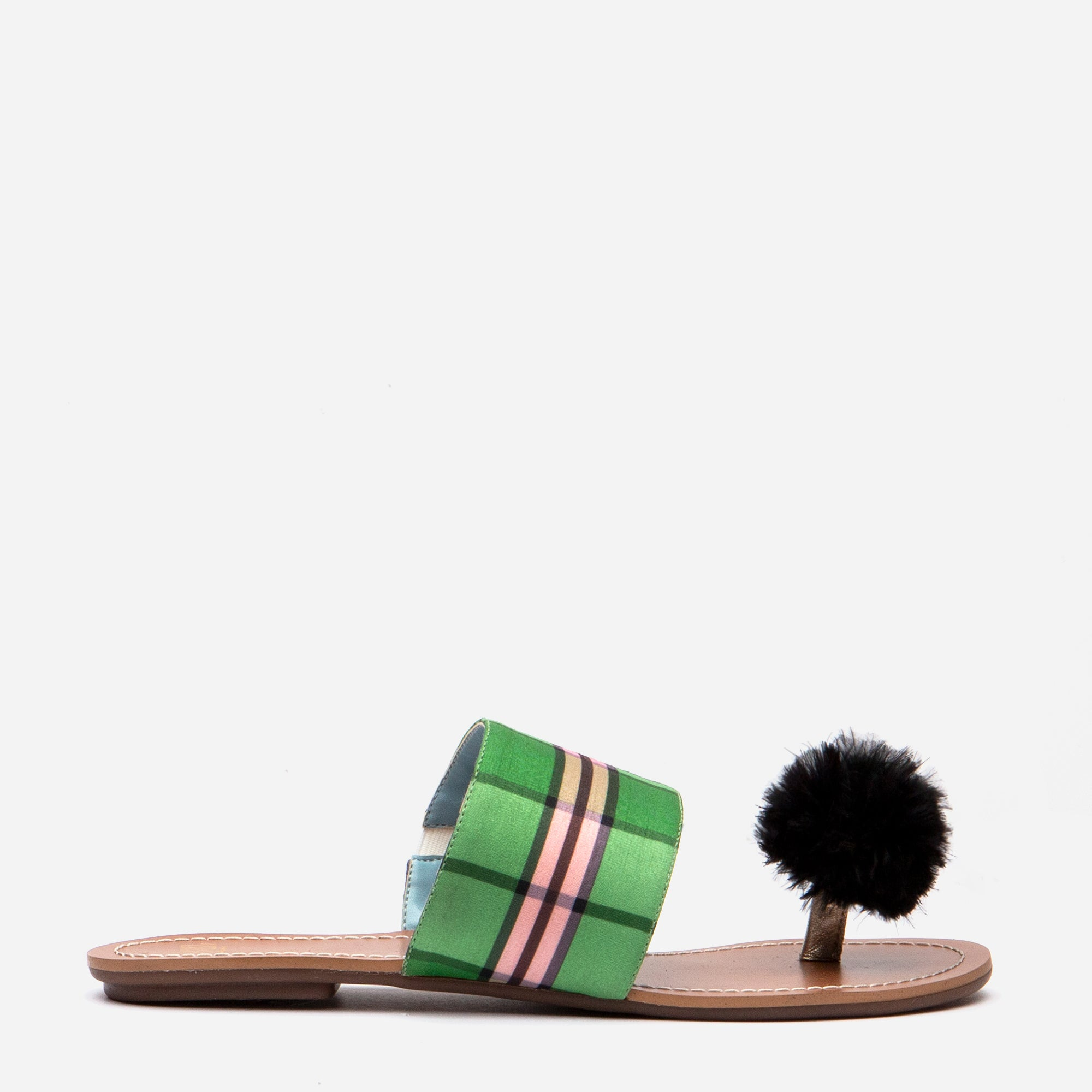 Clementine Pom Pom Sandal Nantucket Plaid