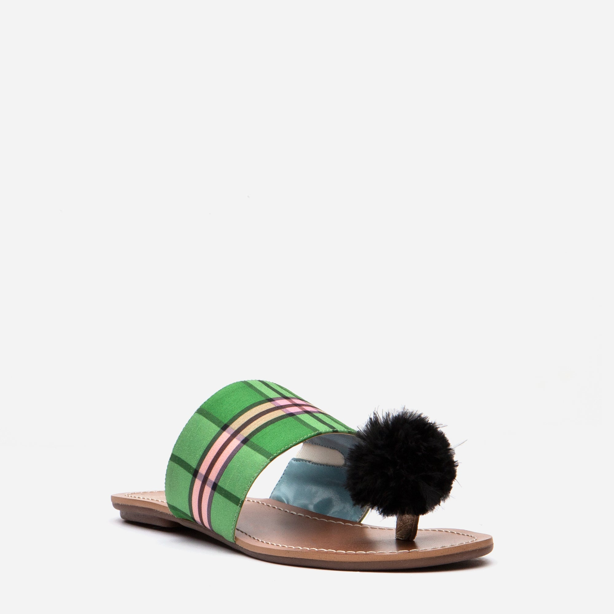 Clementine Pom Pom Sandals Nantucket Plaid