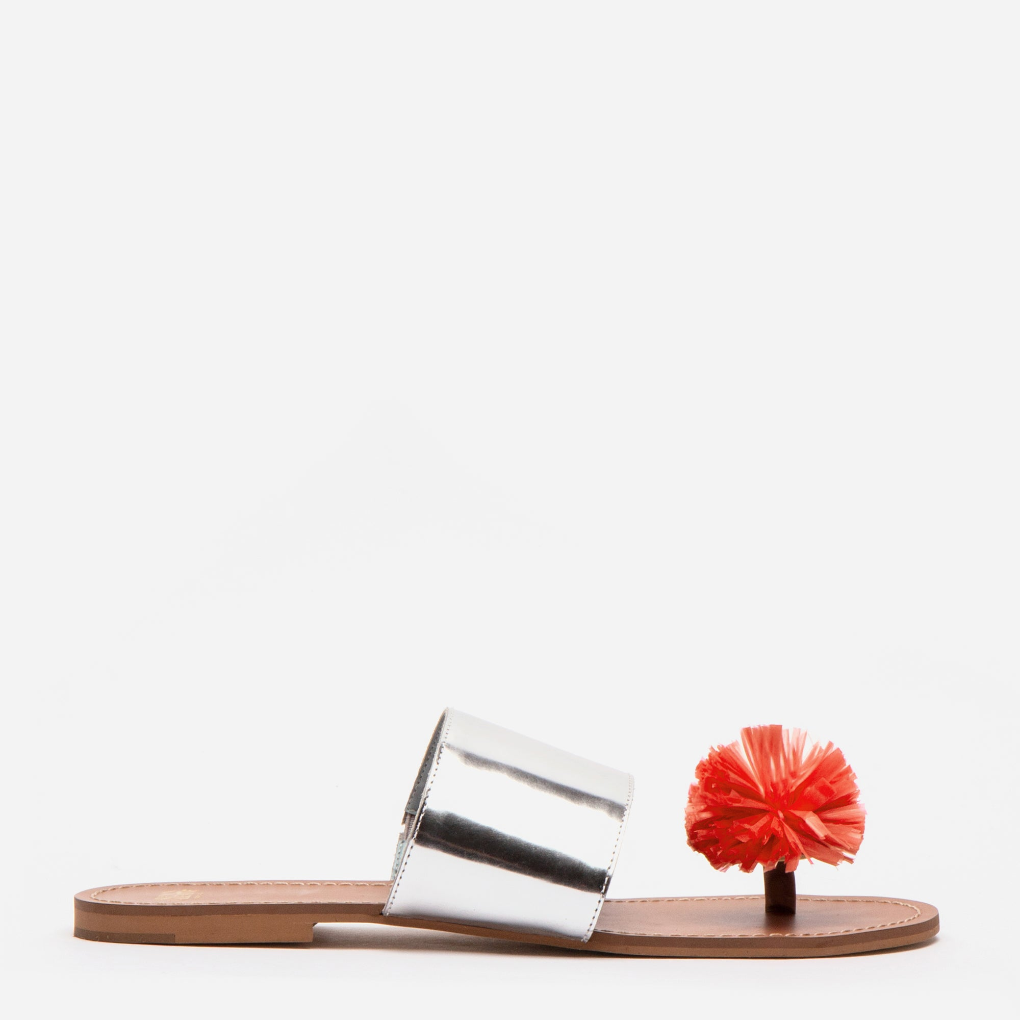 Clementine Pom Pom Sandals Silver Coral
