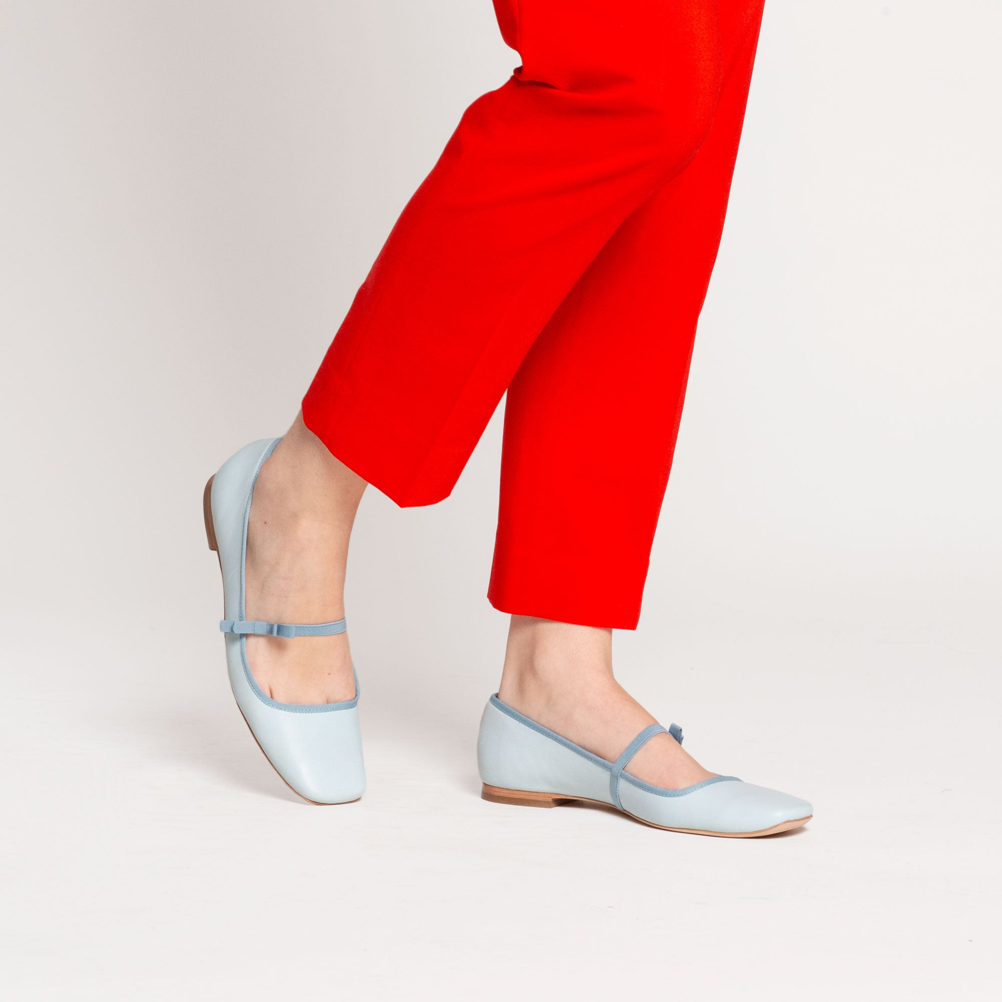 Jude Mary Jane Leather Flat Light Blue