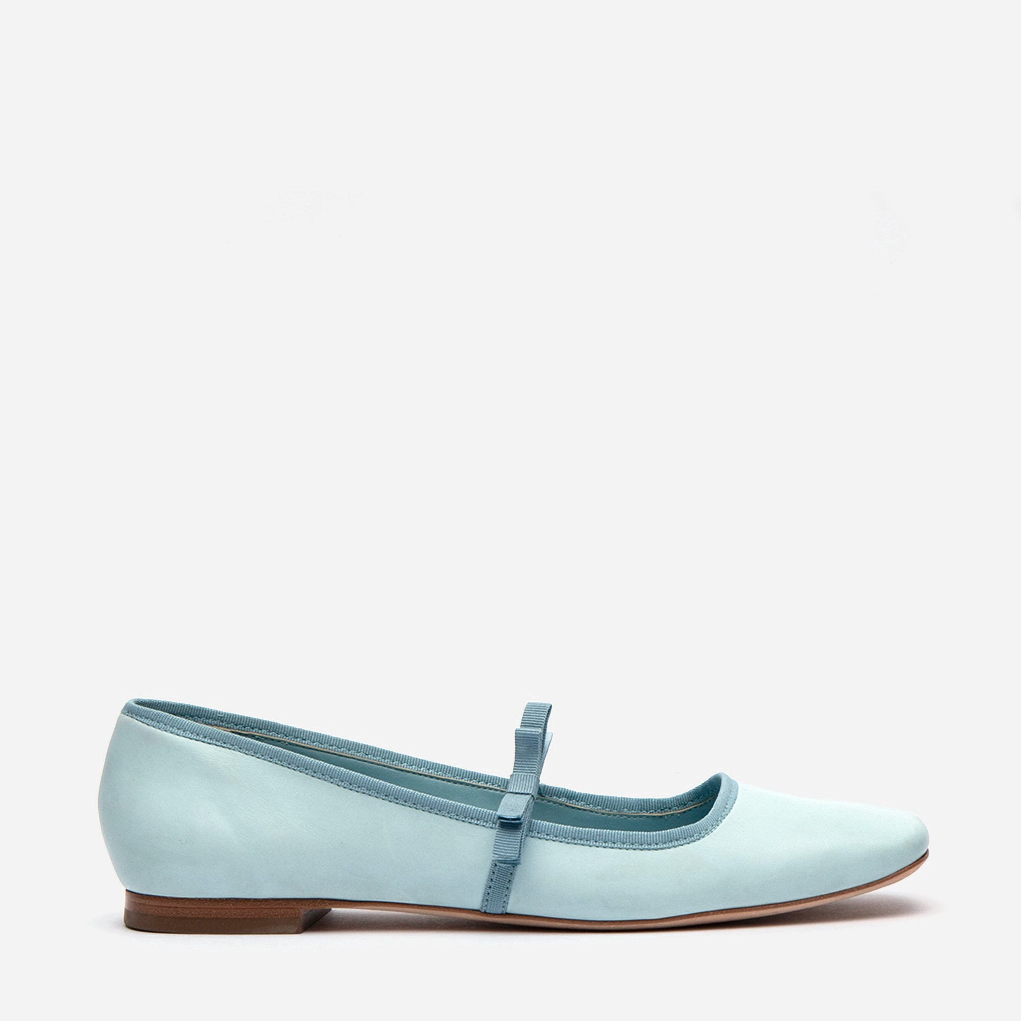 Jude Mary Jane Leather Flat Light Blue - Frances Valentine