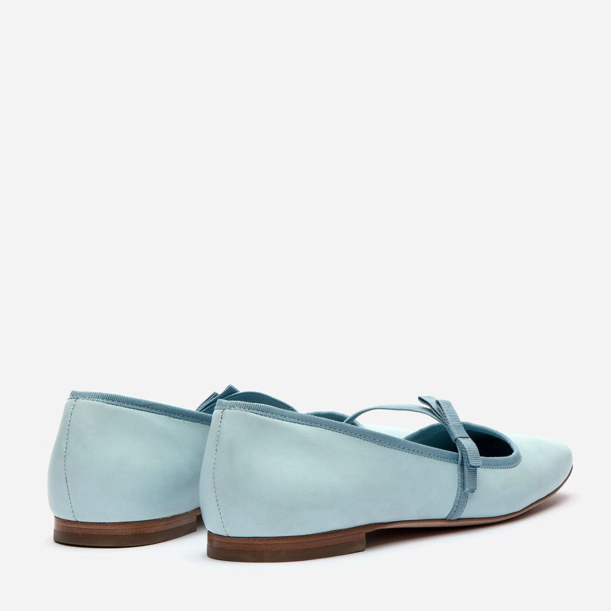 Jude Mary Jane Leather Flats Light Blue