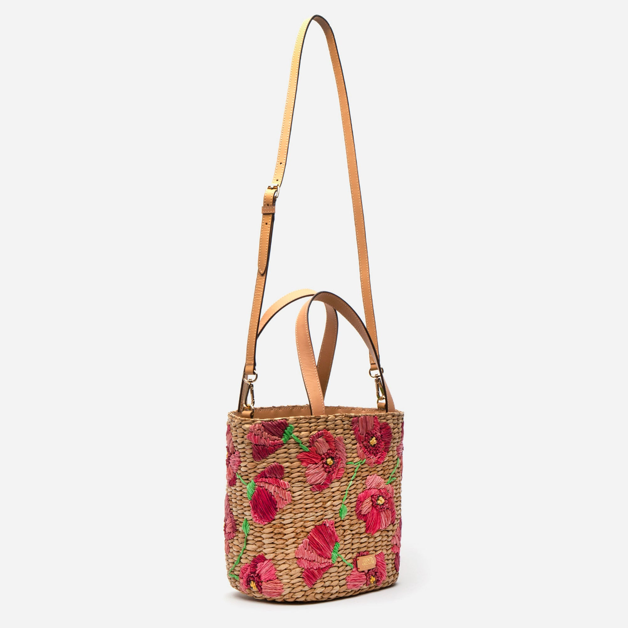 Tall Woven Bucket Bag Spring Flowers Poppy