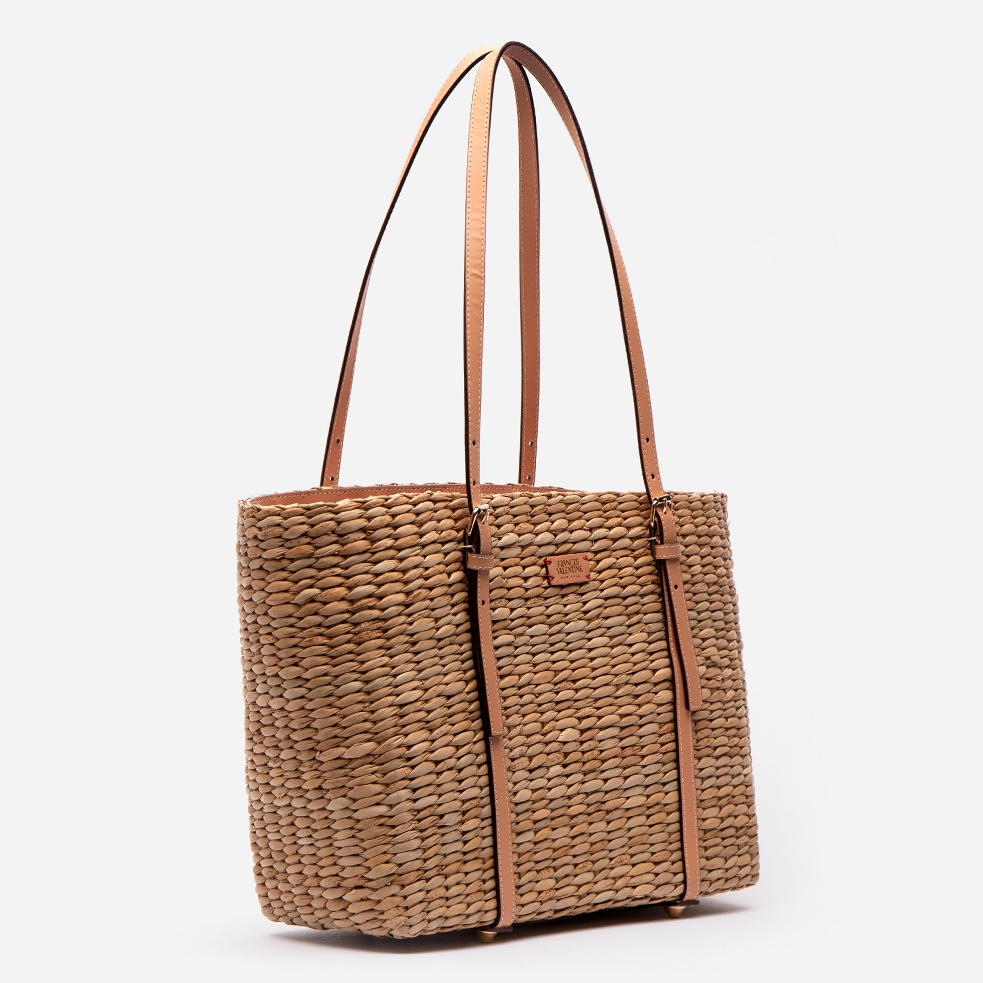 Large Woven Basket Tote Natural Vachetta