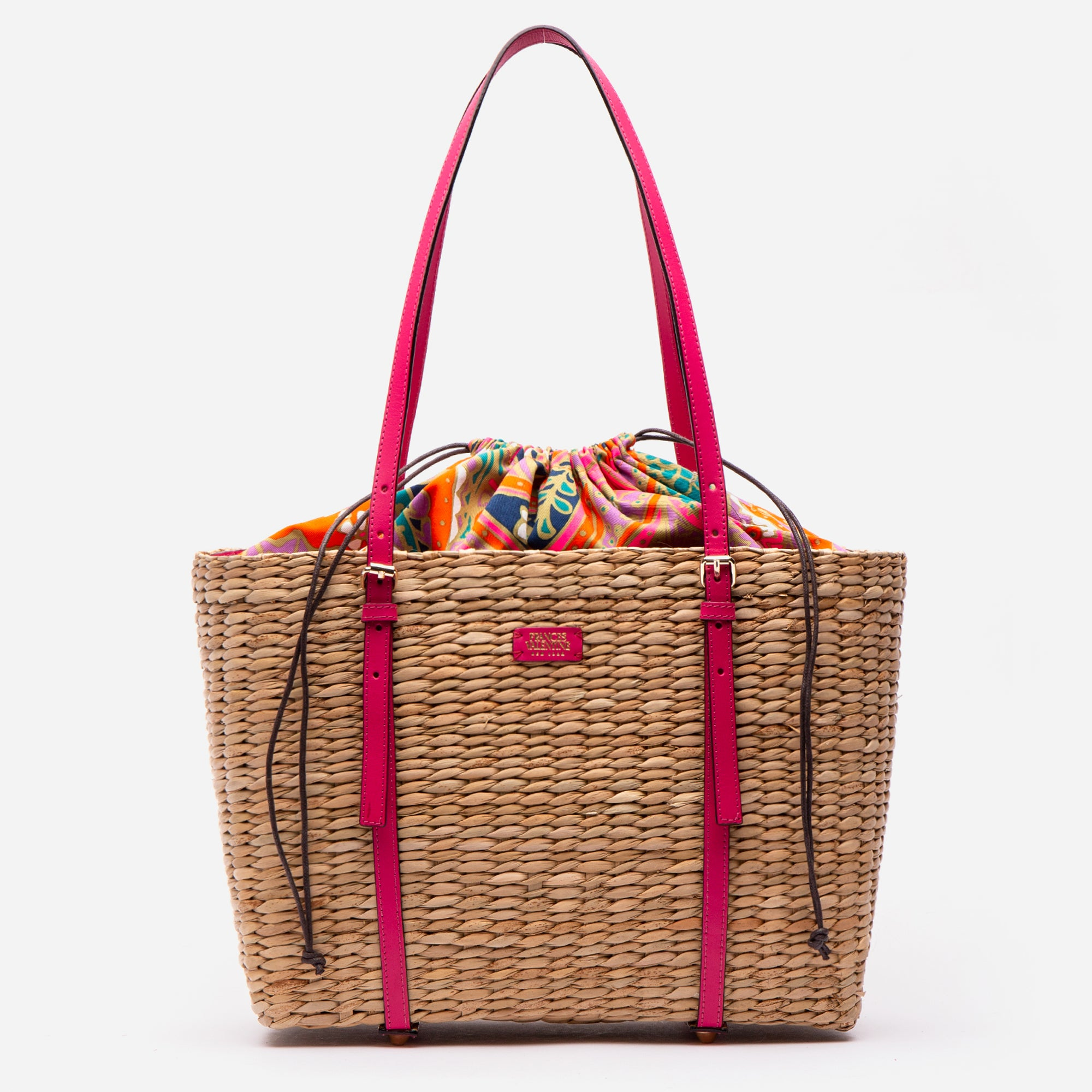 Large Woven Basket Tote Bright Pink Vachetta - Frances Valentine