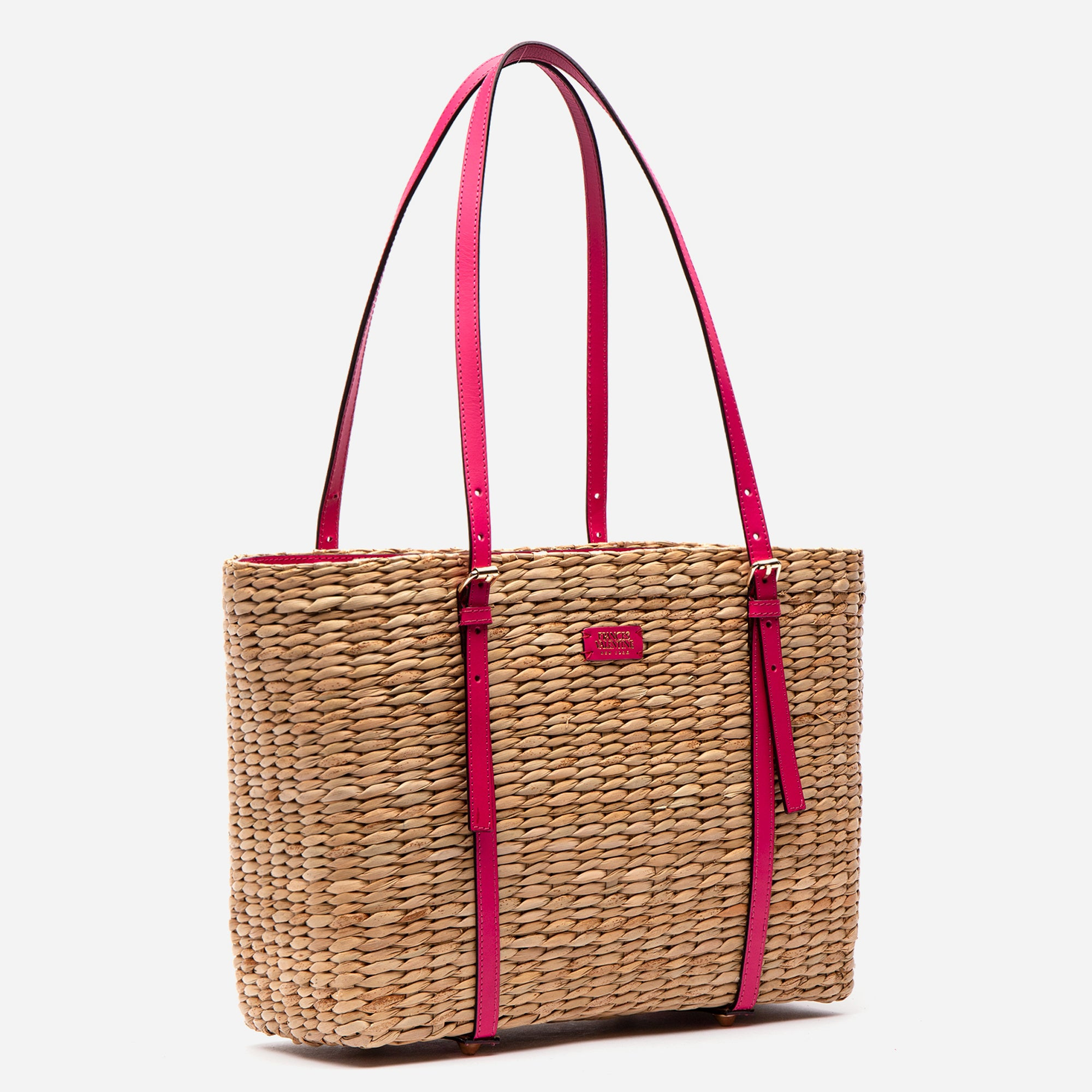 Large Woven Basket Tote Bright Pink Vachetta
