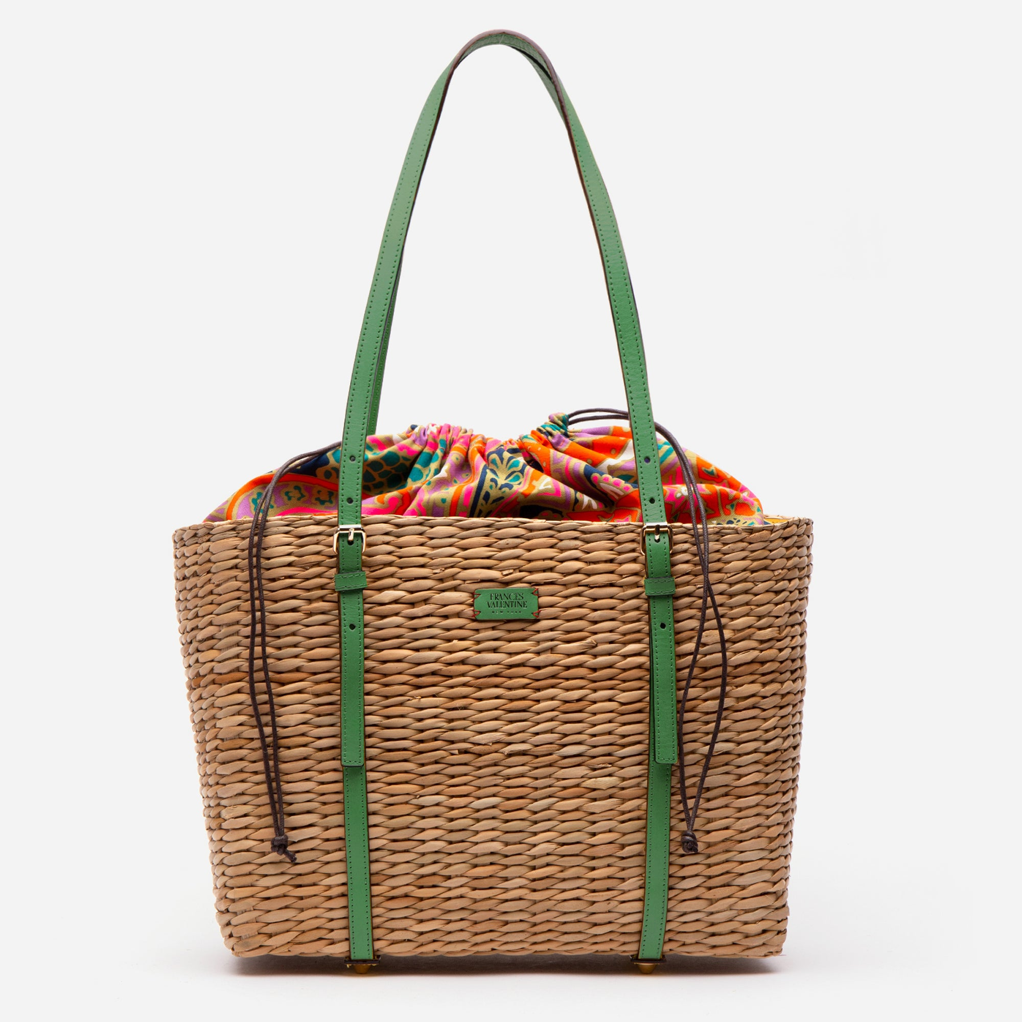 Large Woven Basket Tote Green Ray Vachetta
