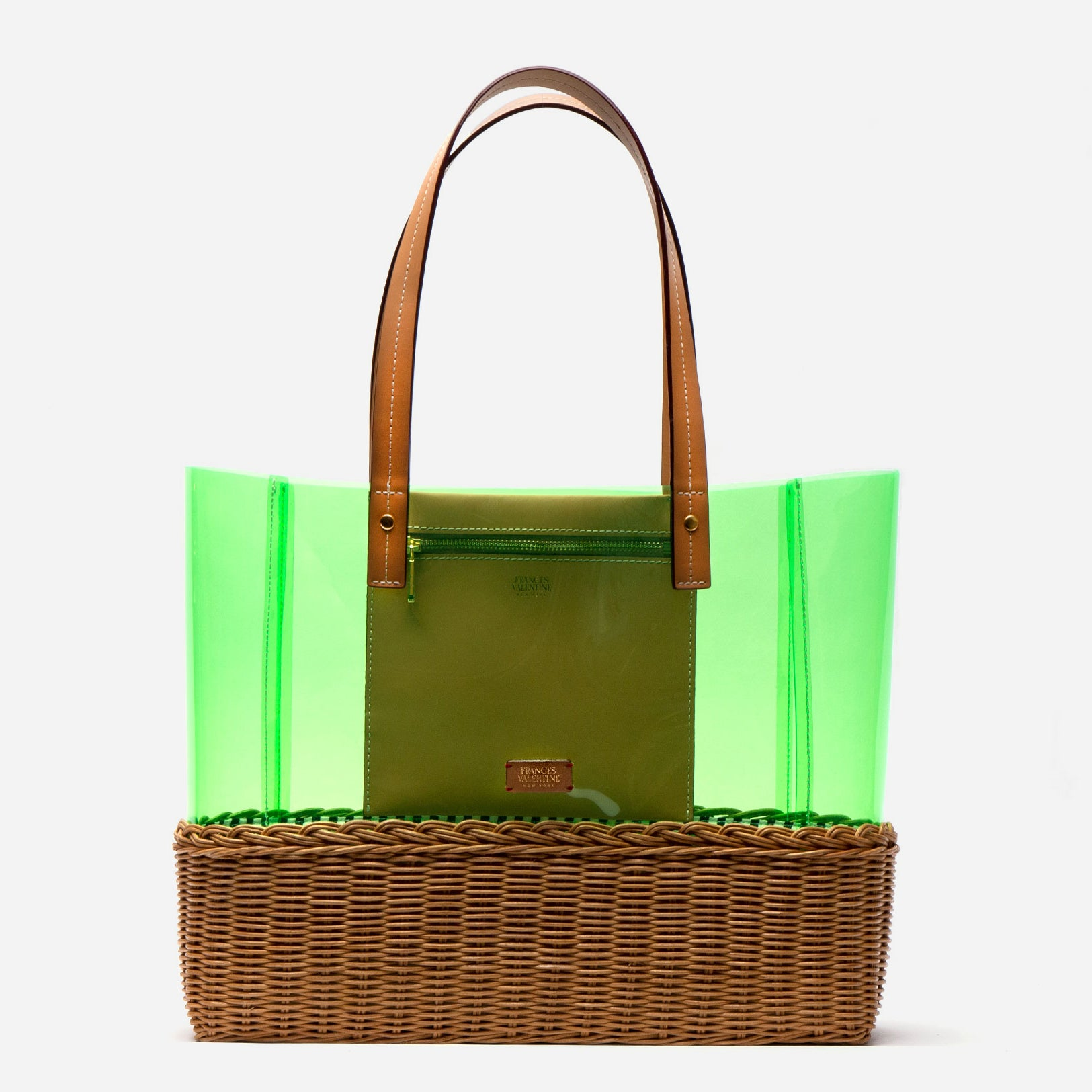 Large Margaret PVC Wicker Green Tote